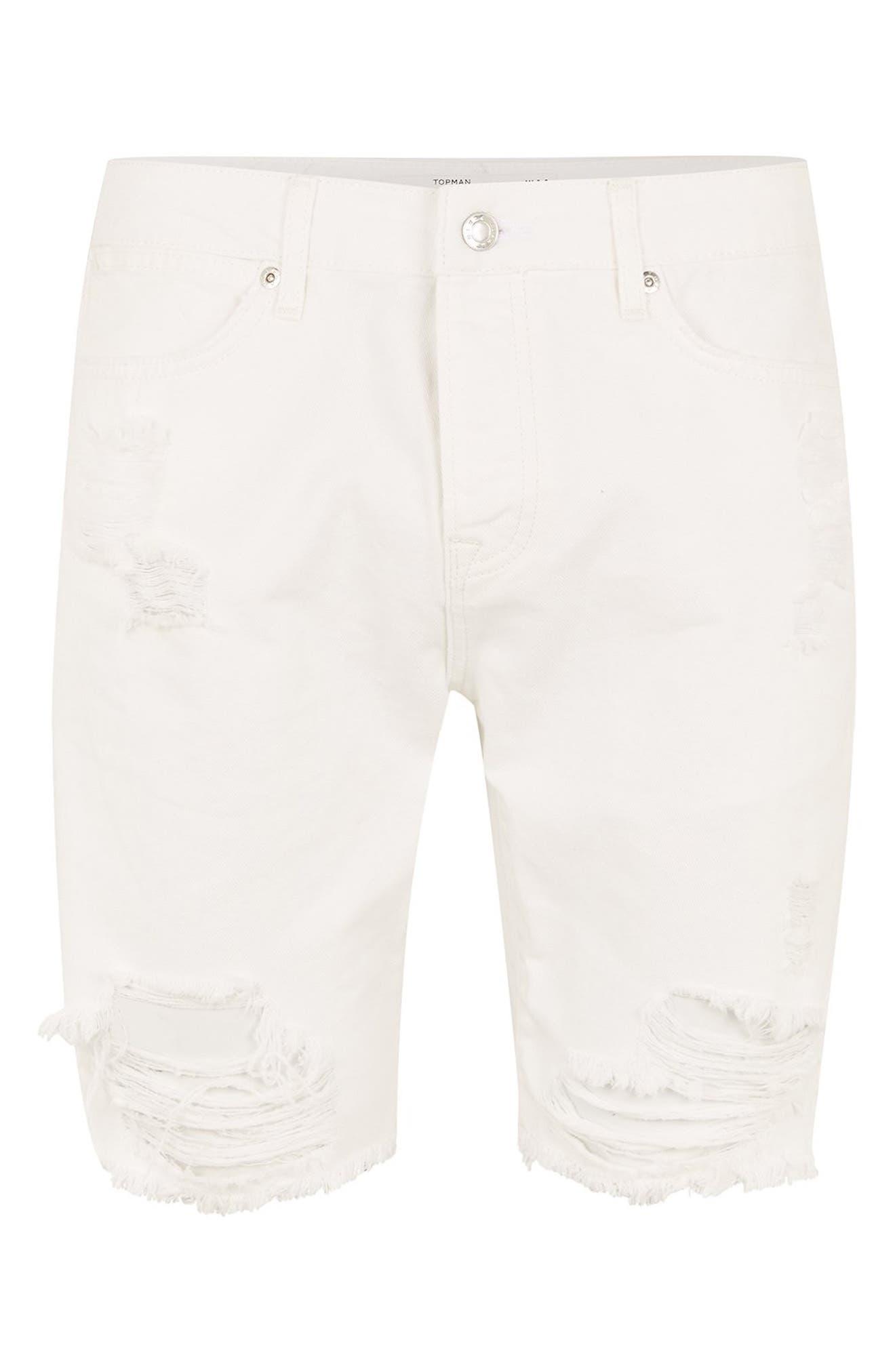 Slim Fit Shredded Jean Shorts,                             Alternate thumbnail 4, color,                             WHITE