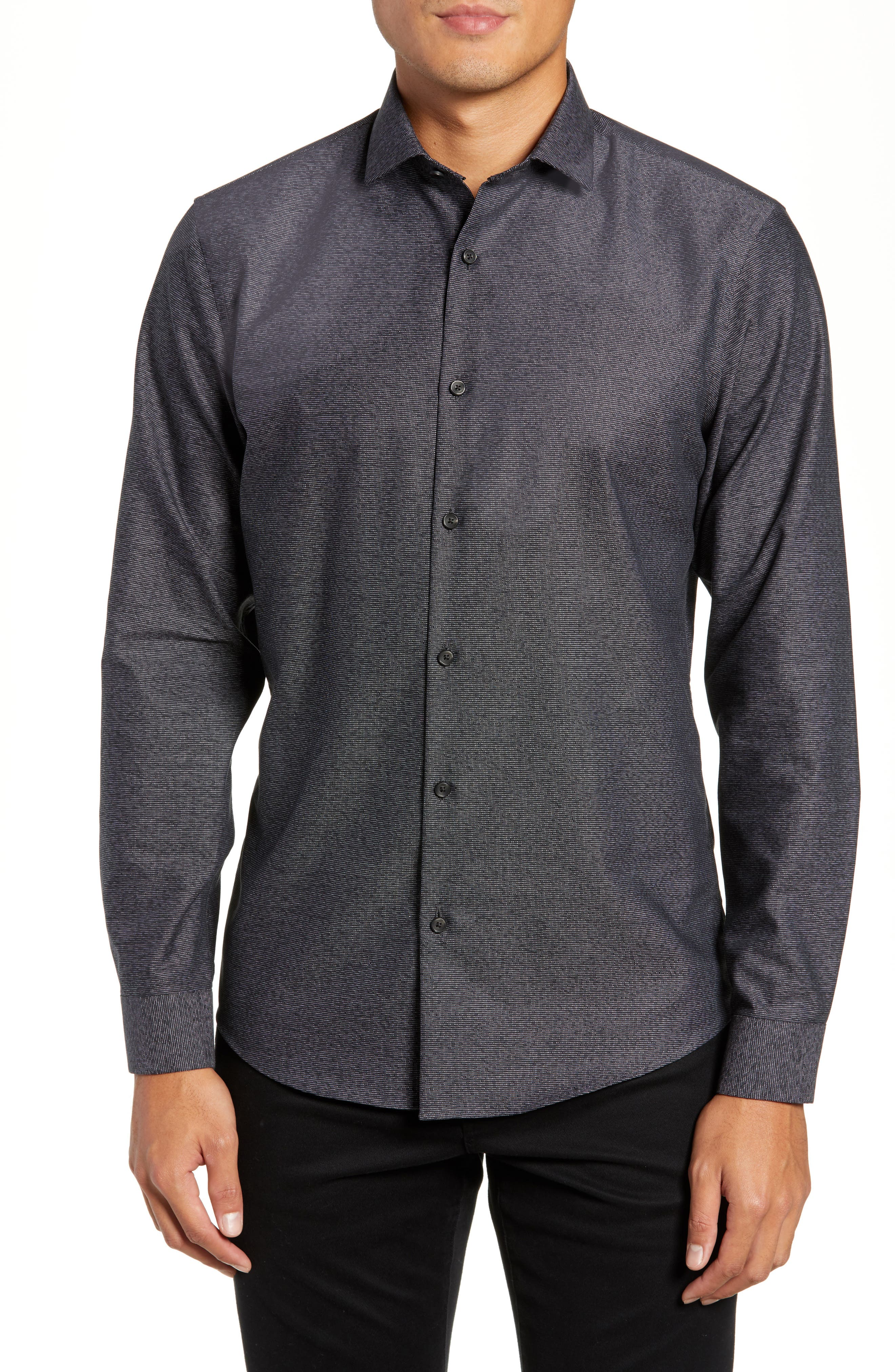 CALIBRATE,                             Slim Fit Non-Iron Textured Sport Shirt,                             Main thumbnail 1, color,                             001