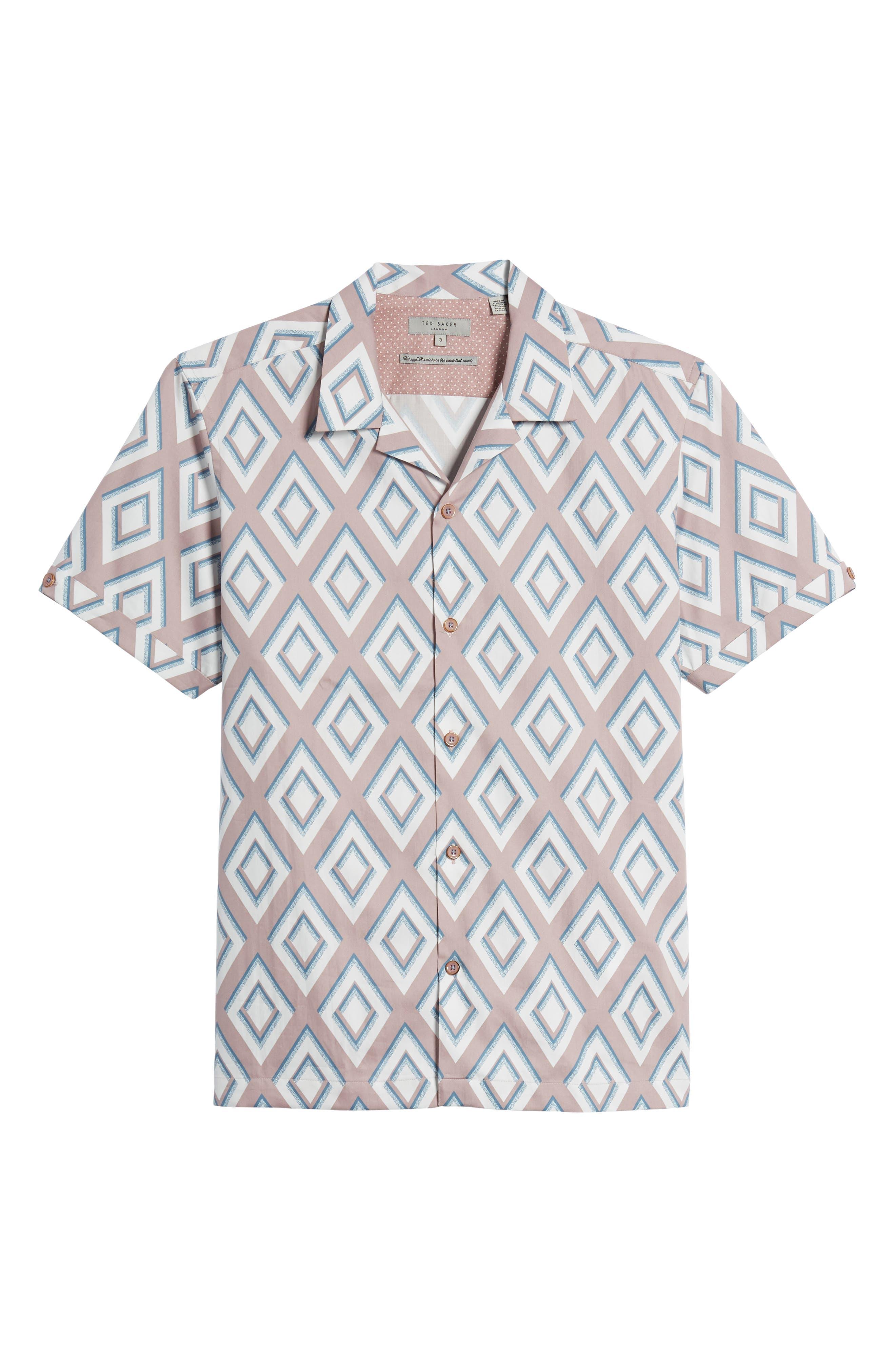 Slim Fit Diamond Print Sport Shirt,                             Alternate thumbnail 6, color,                             650