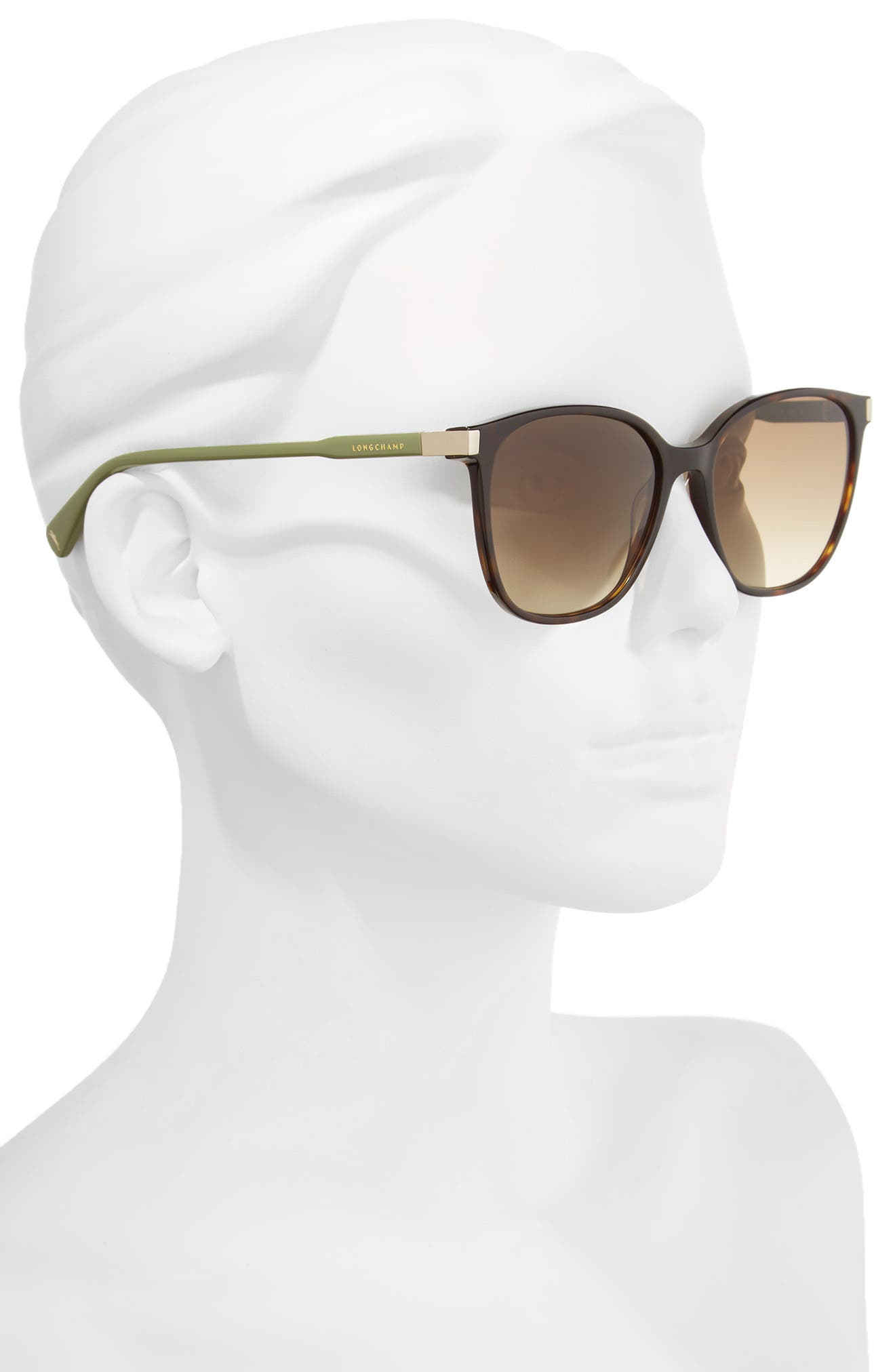 54mm Square Sunglasses,                             Alternate thumbnail 2, color,                             DARK HAVANA