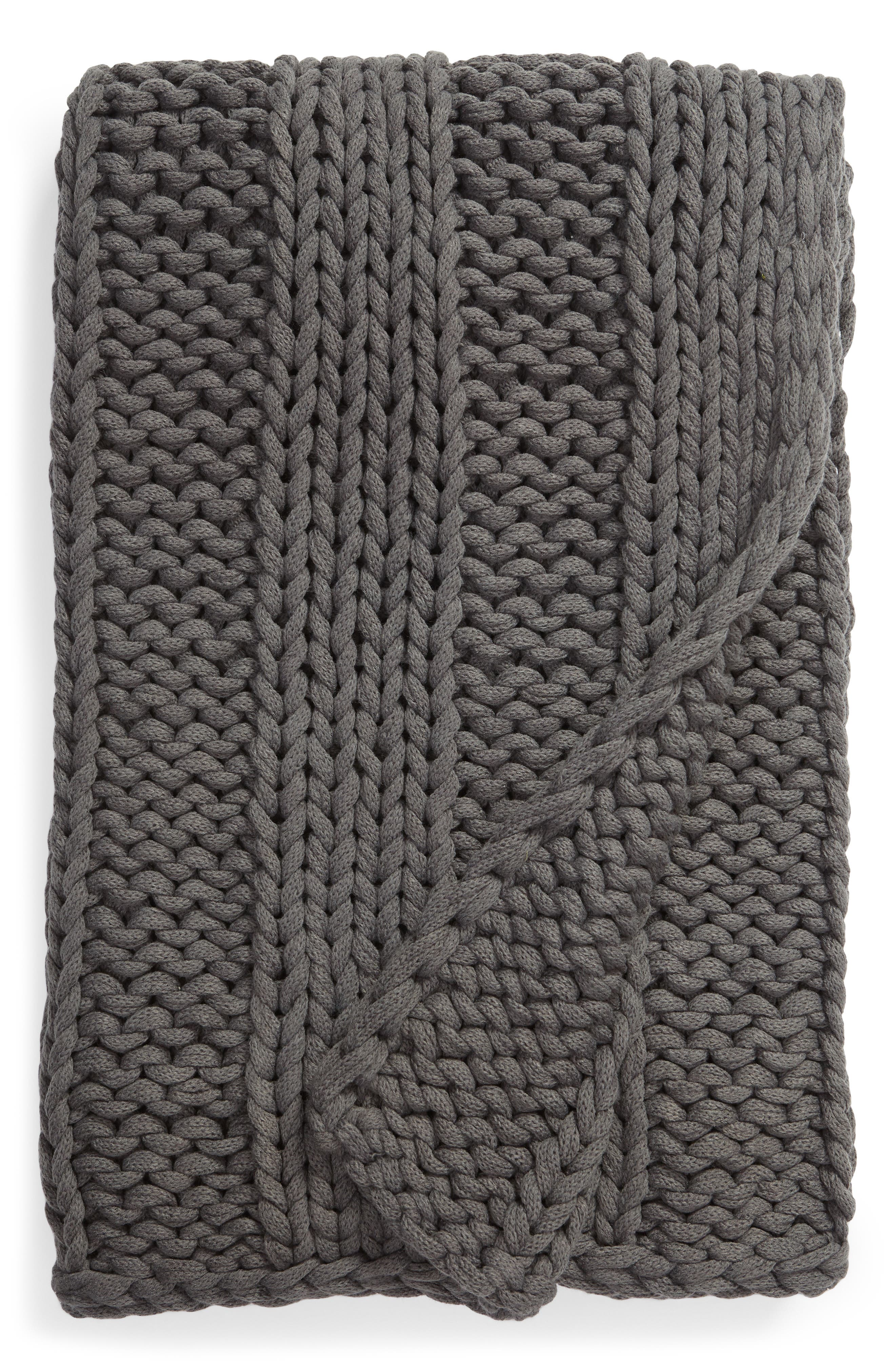 Jersey Rope Ribbed Throw Blanket,                             Main thumbnail 1, color,                             GREY ONYX