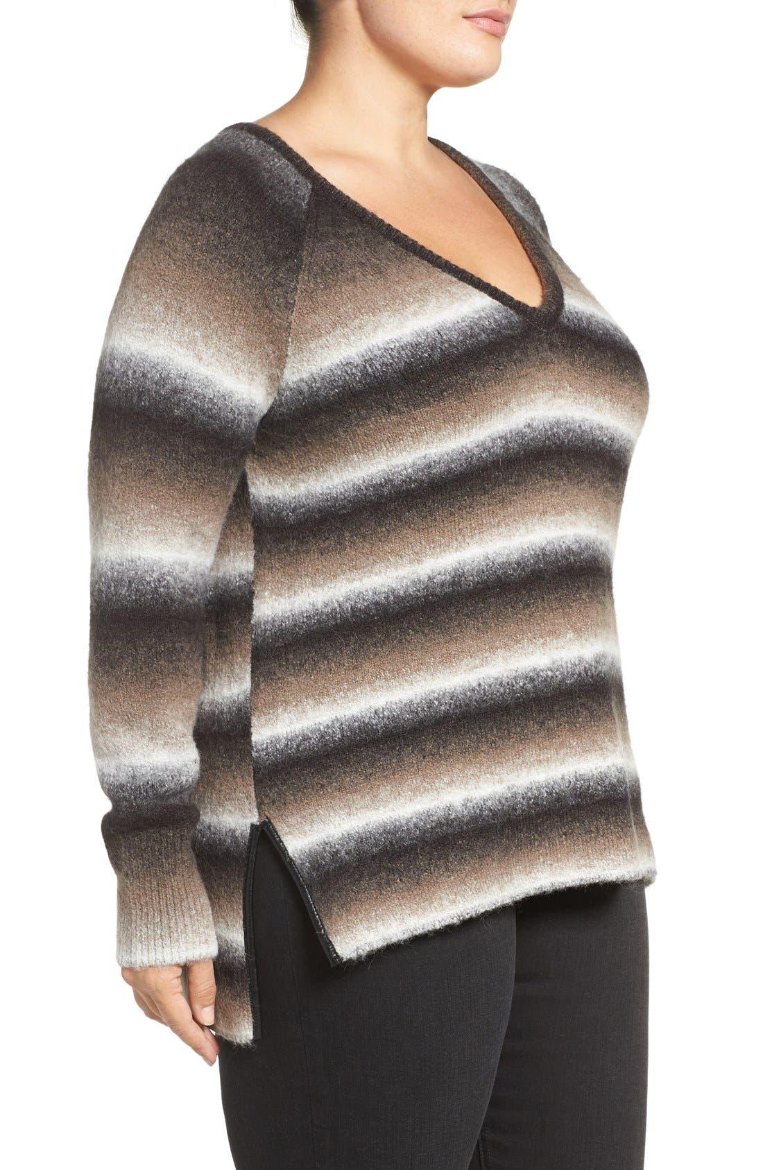 'Bary' Ombré Stripe V-Neck Sweater,                             Alternate thumbnail 3, color,                             208
