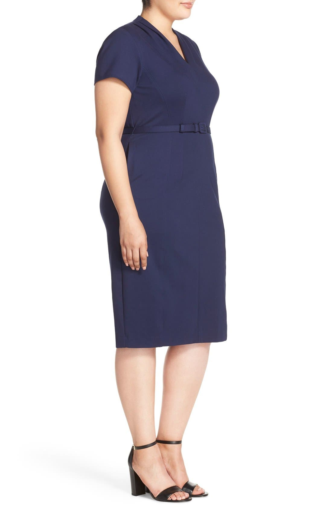 Belted Ponte V-Neck Sheath Dress,                             Alternate thumbnail 4, color,                             410