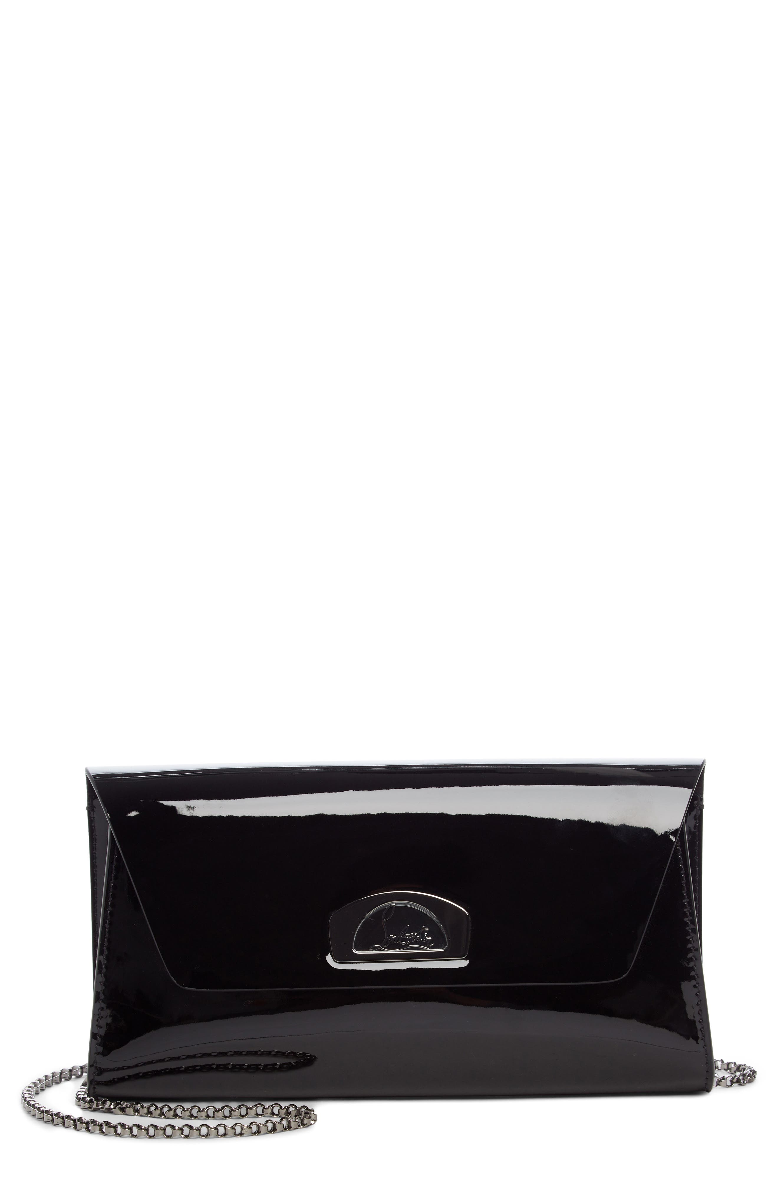 Vero Dodat Patent Leather Clutch,                         Main,                         color, BLACK