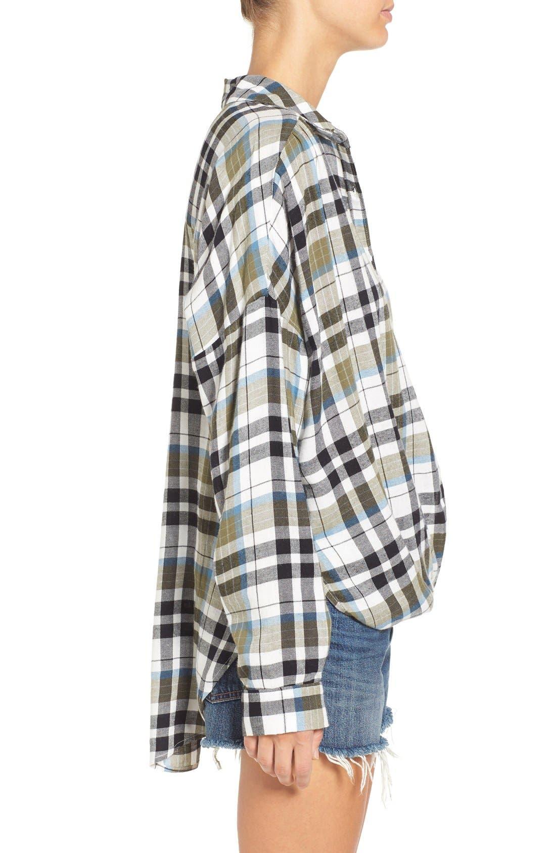 Twist Front Plaid Shirt,                             Alternate thumbnail 2, color,                             315