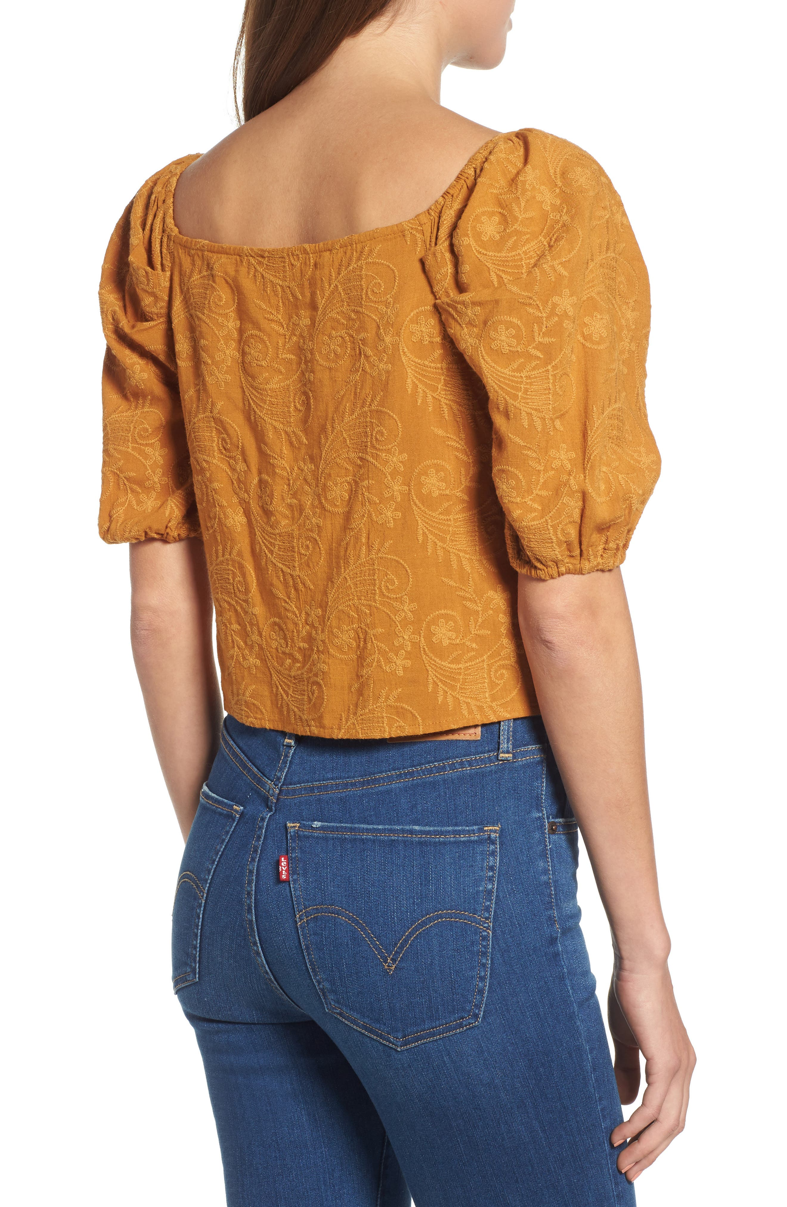 Embroidered Puff Sleeve Top,                             Alternate thumbnail 2, color,                             MAPLE