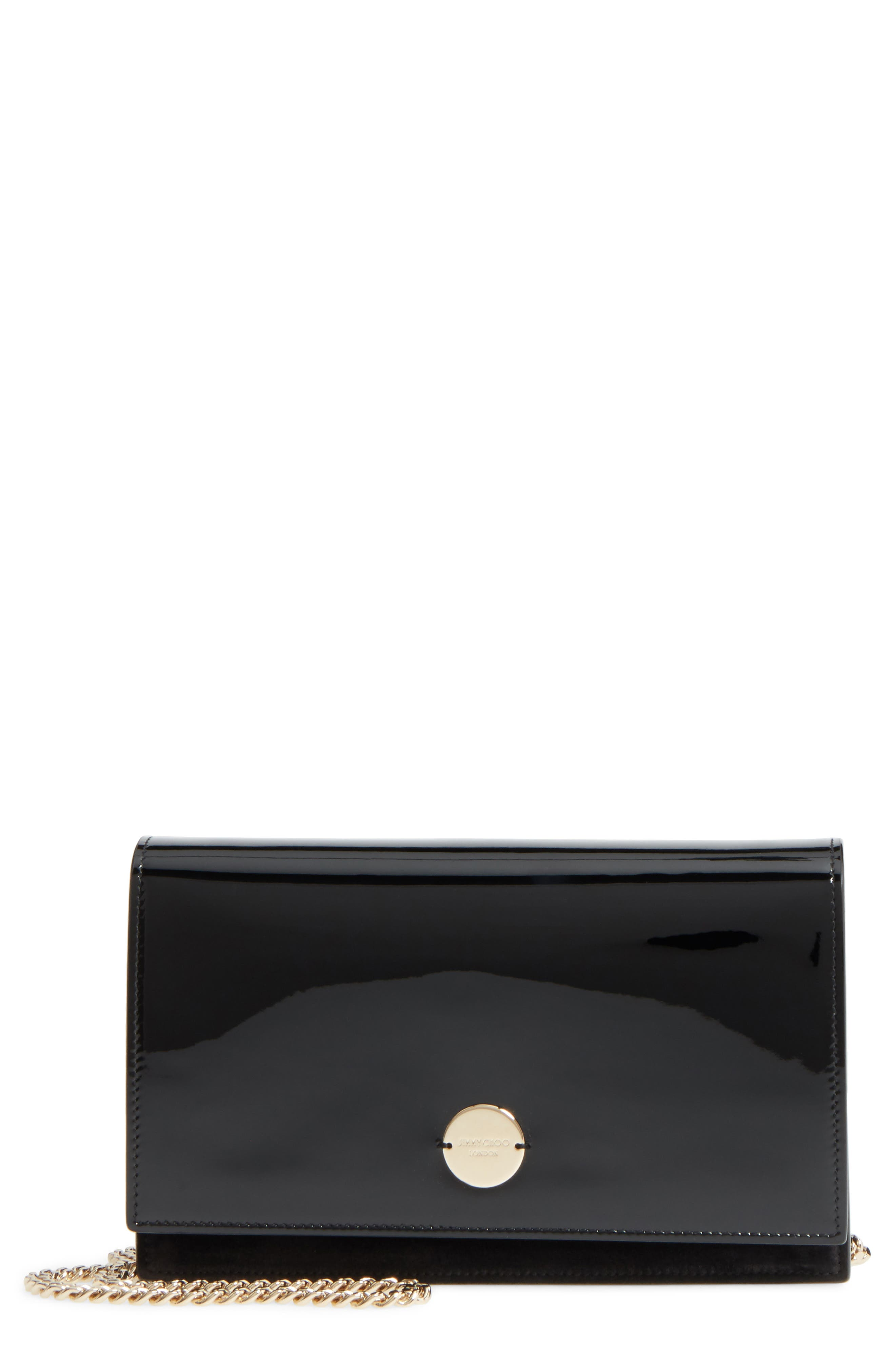 Florence Patent Leather & Suede Clutch,                             Main thumbnail 1, color,                             BLACK