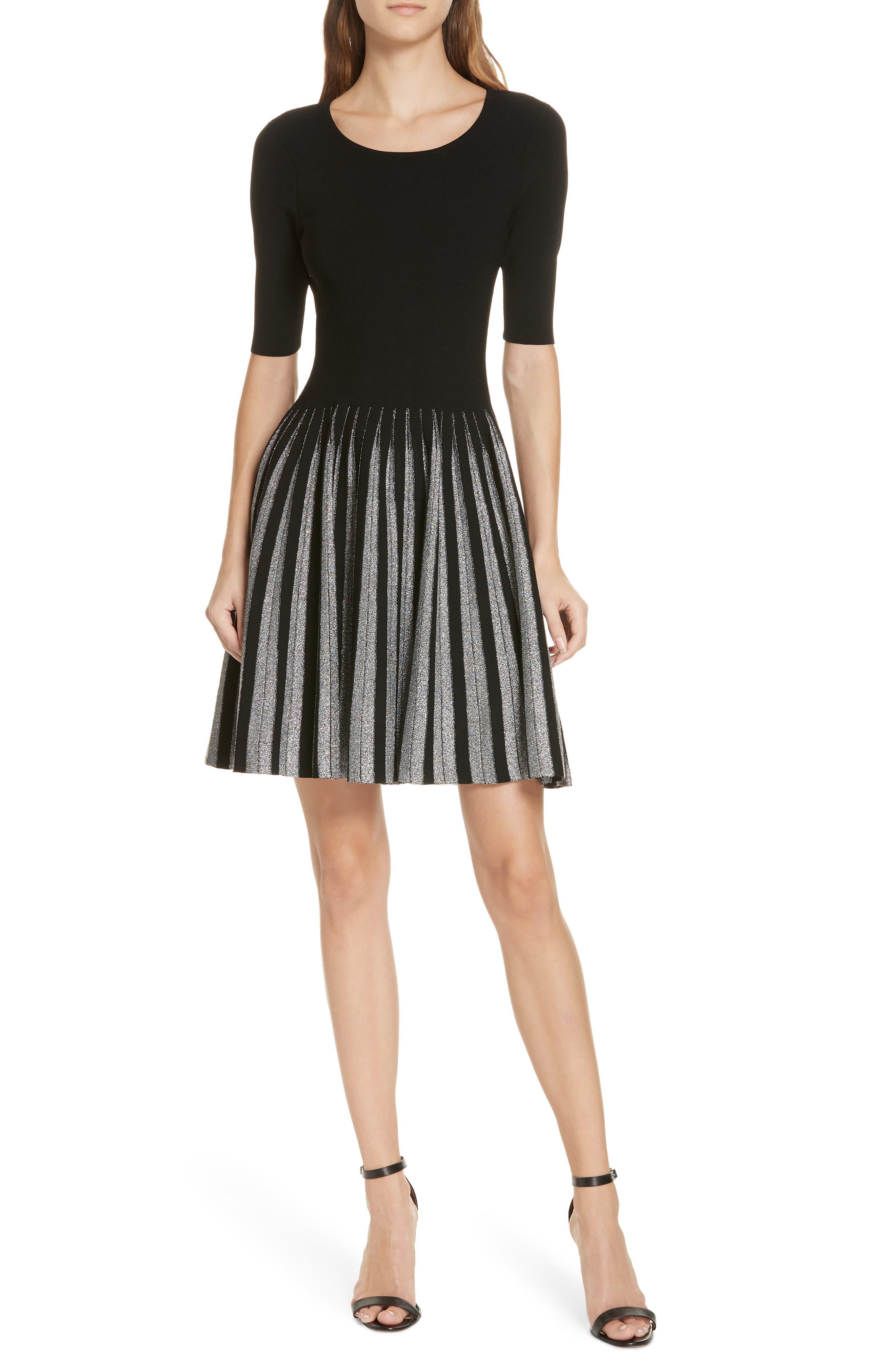 Metallic Pleat Fit & Flare Dress,                             Main thumbnail 1, color,                             BLACK/ SILVER