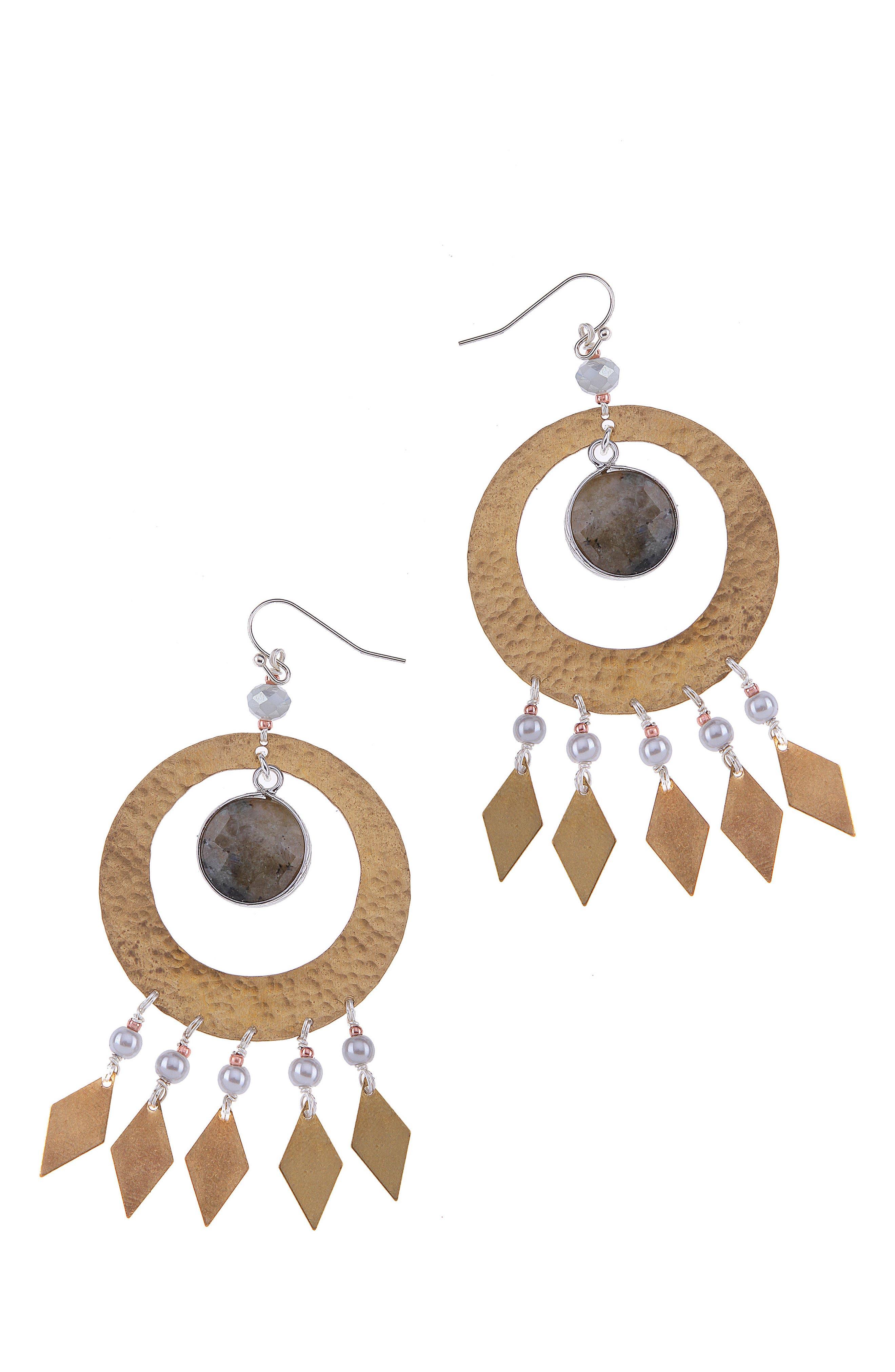 Labradorite & Imitation Pearl Statement Earrings,                         Main,                         color, 020