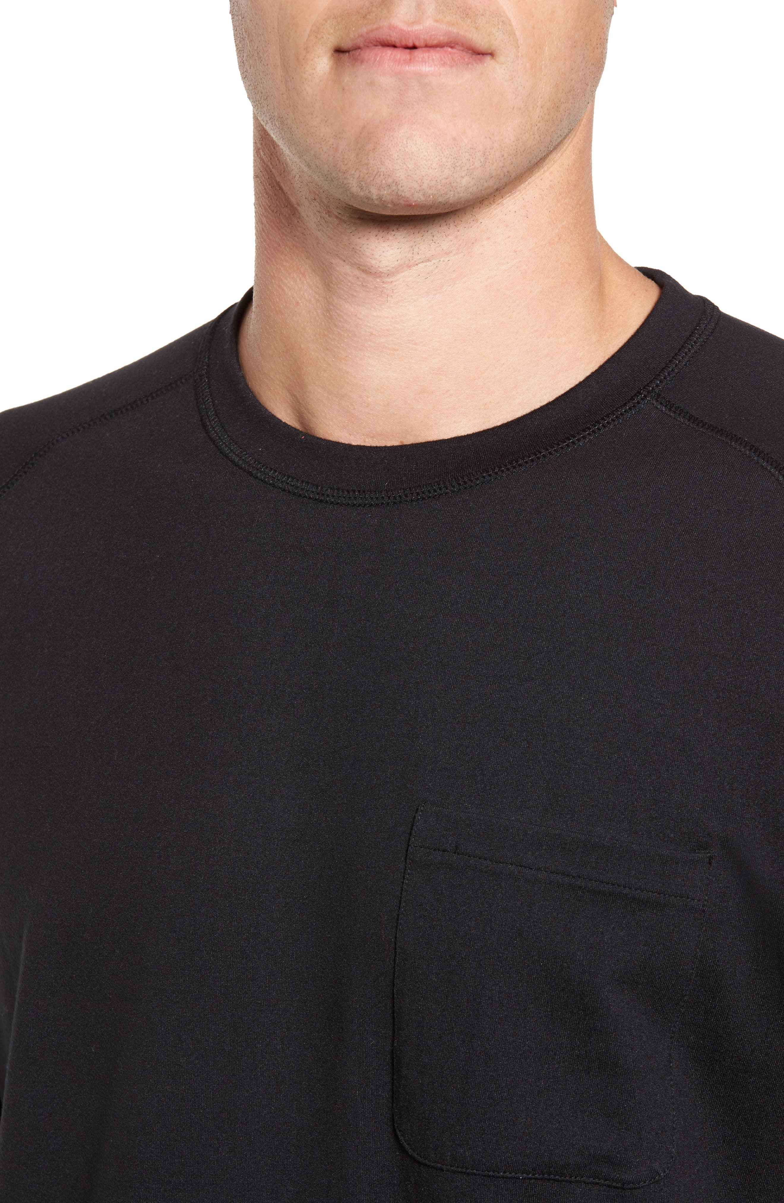 Longline Crewneck T-Shirt,                             Alternate thumbnail 4, color,                             001