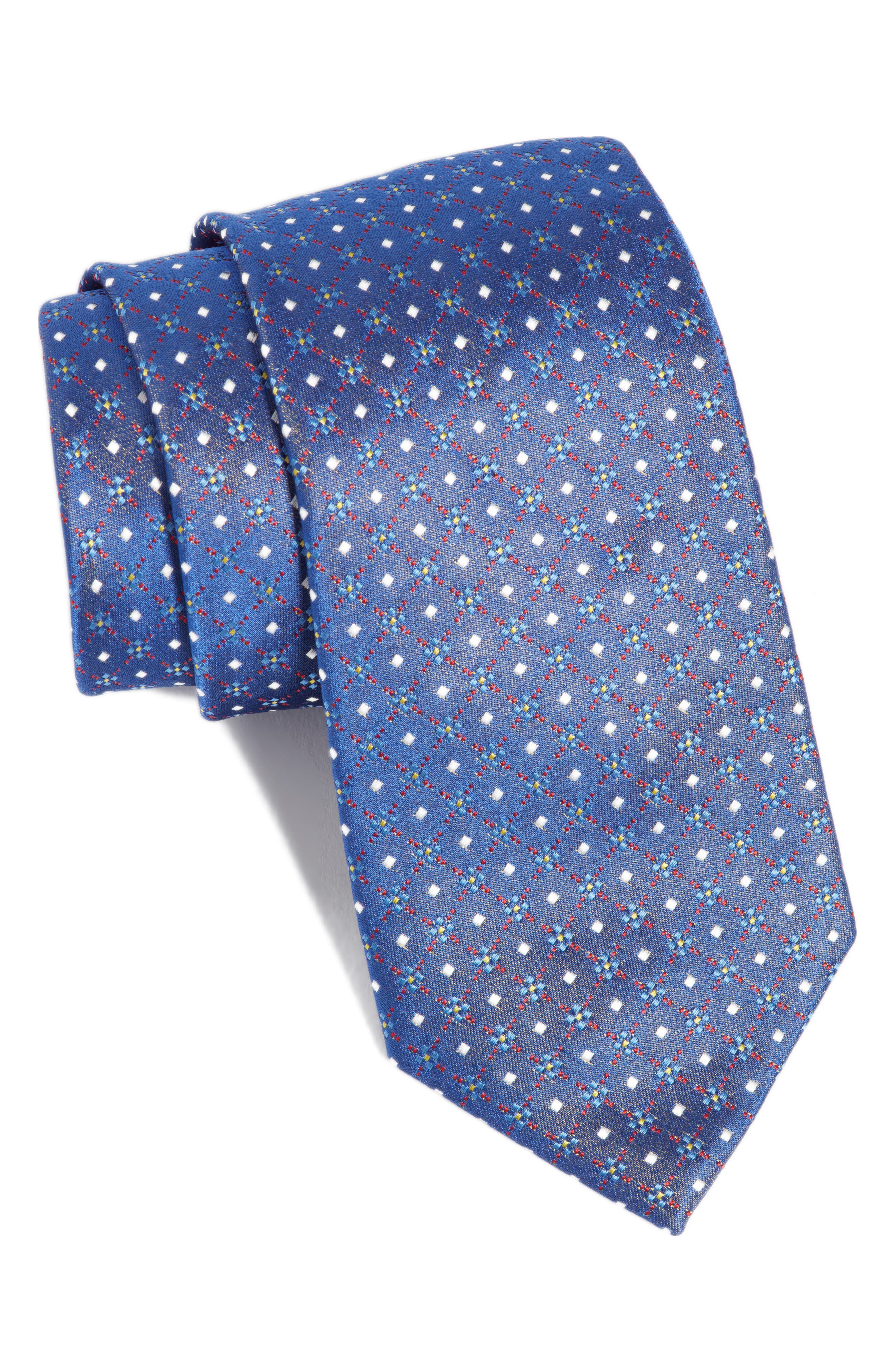 Geometric Silk Tie,                         Main,                         color, 450
