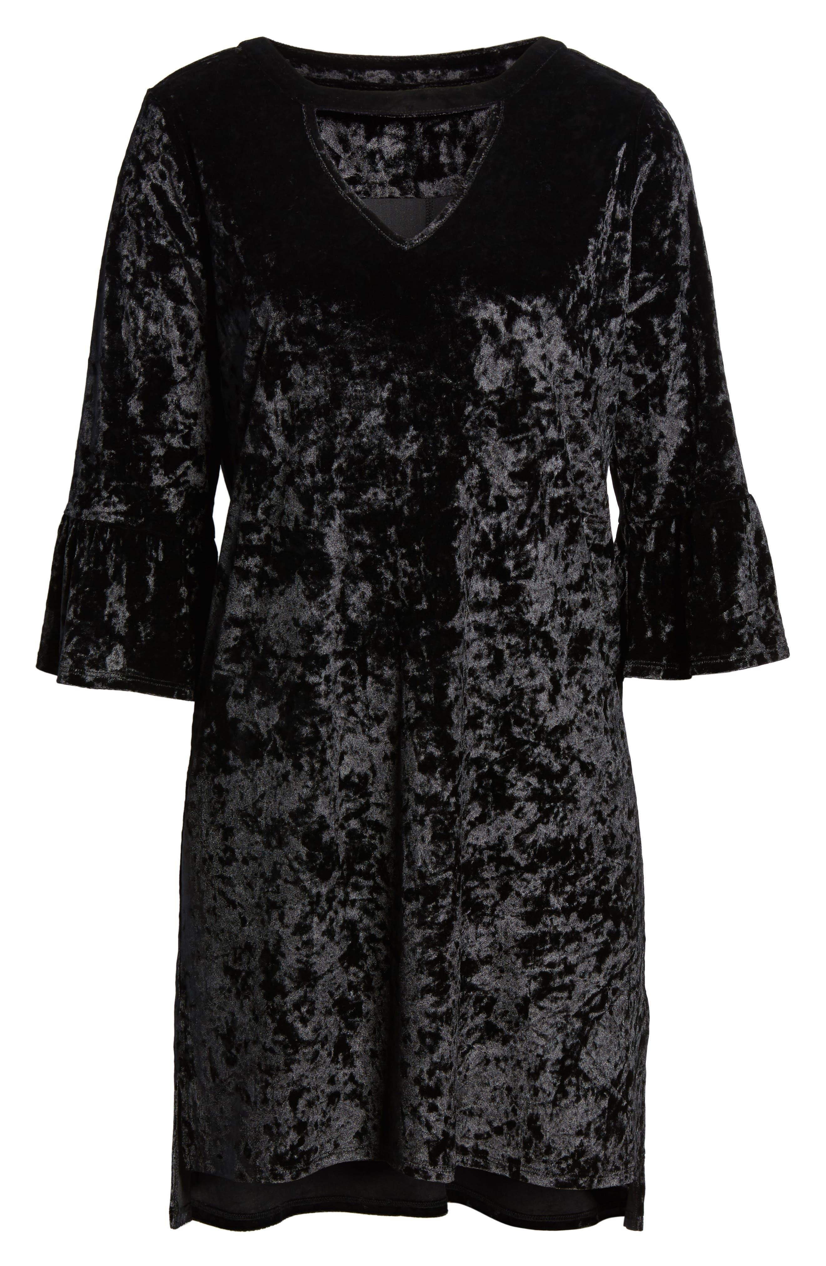 Velvet Keyhole A-Line Dress,                             Alternate thumbnail 6, color,