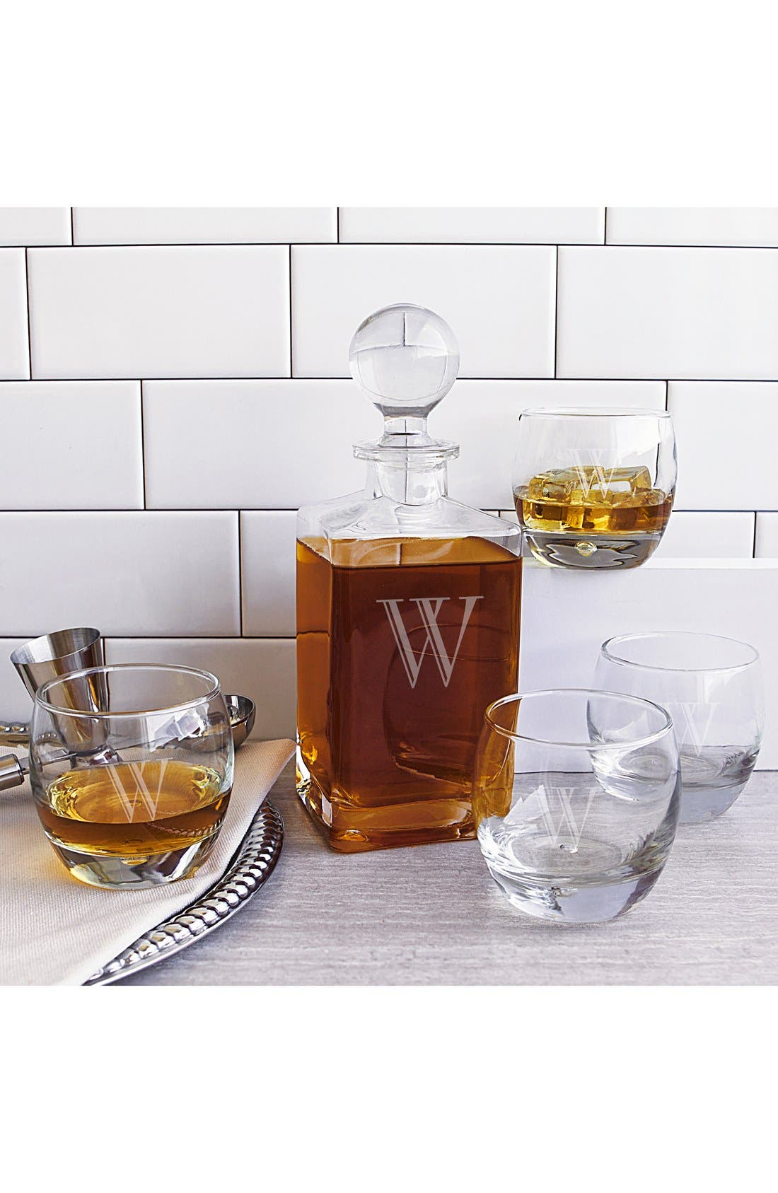 Monogram Whiskey Decanter & Glasses,                             Main thumbnail 24, color,