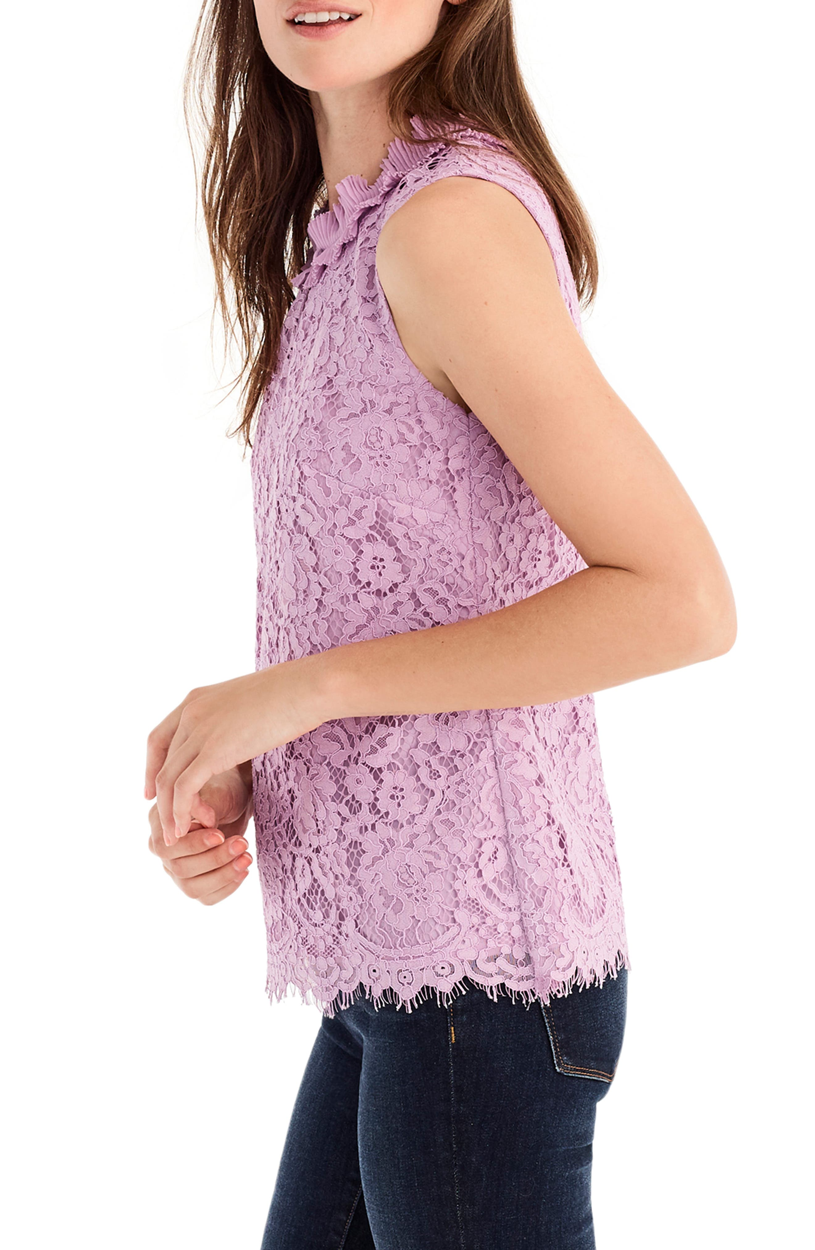 Lace Ruffle Neck Top,                             Alternate thumbnail 3, color,                             VIVID LILAC