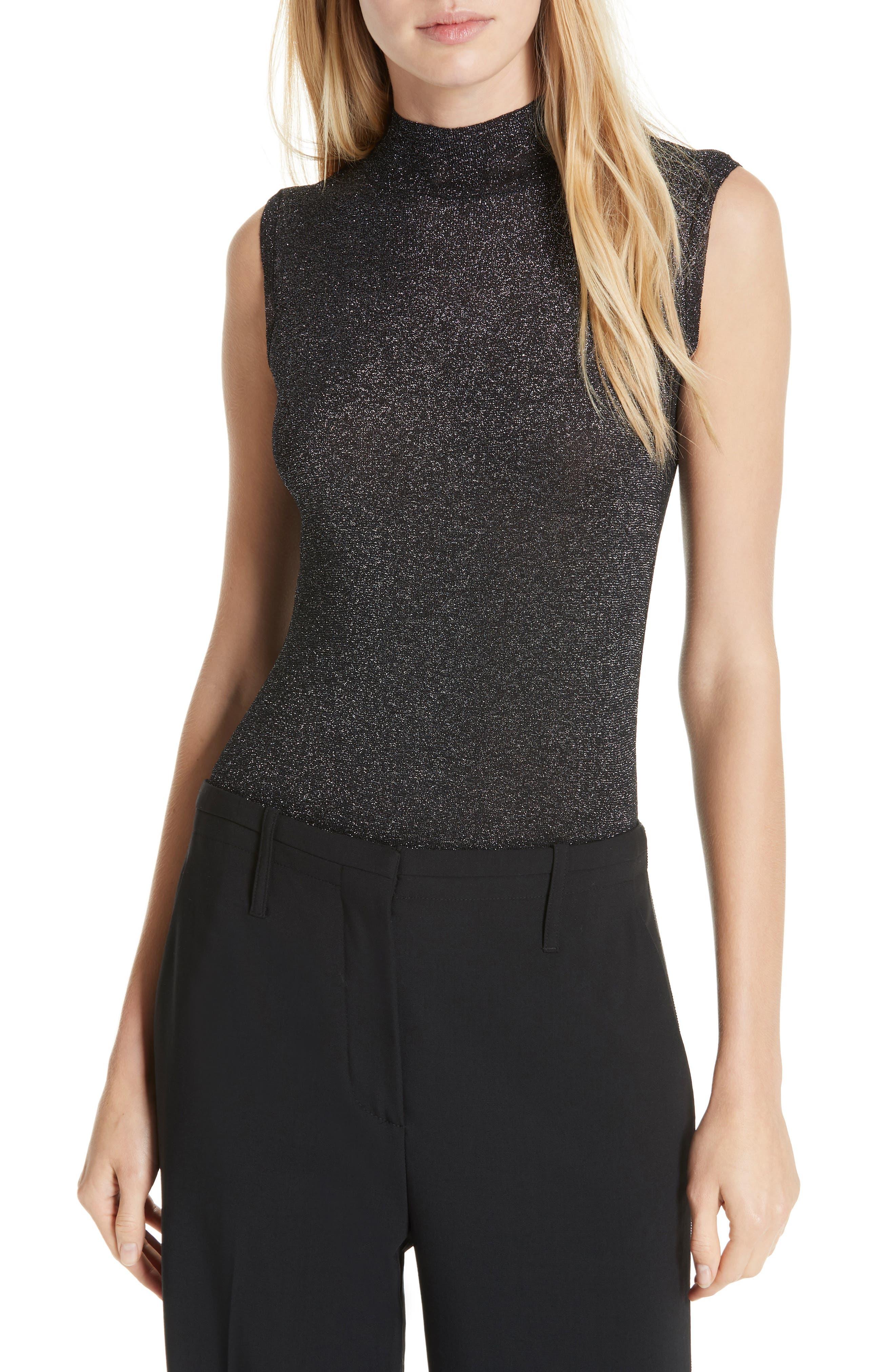 Cameron Metallic Mock Neck Sweater,                         Main,                         color, BLACK