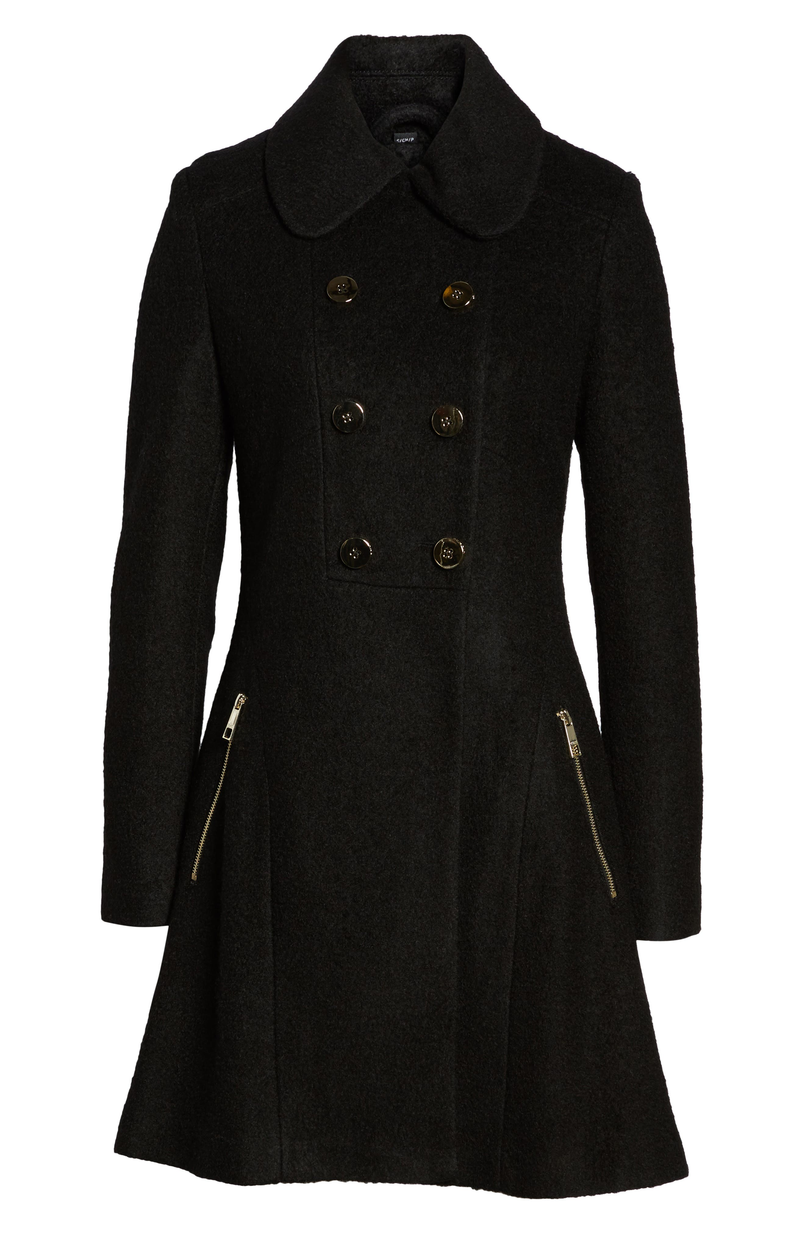 Double Breasted Boiled Wool Peacoat,                             Alternate thumbnail 5, color,                             001