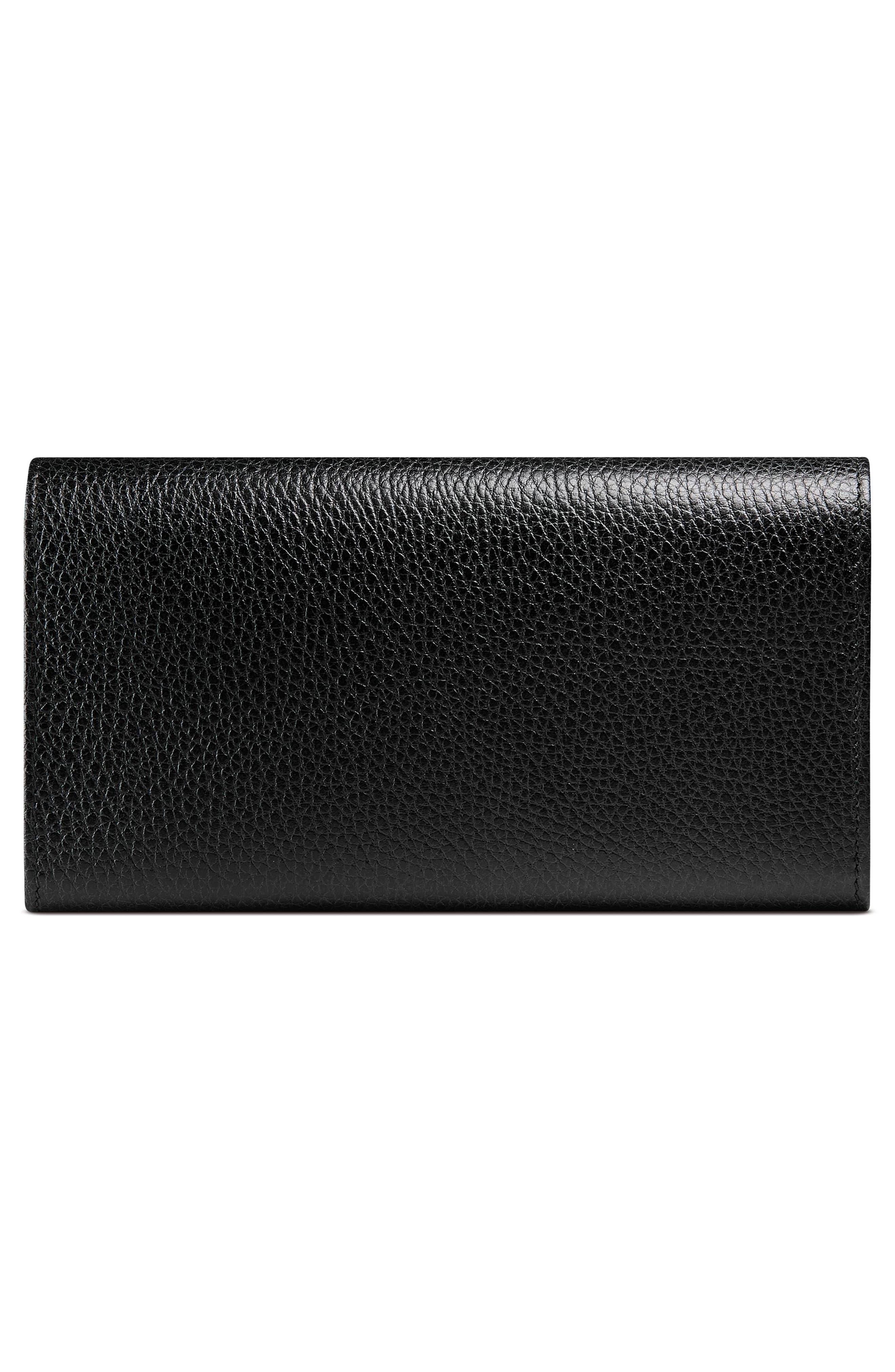 Petite Marmont Leather Continental Wallet,                             Alternate thumbnail 3, color,                             NERO/ NERO