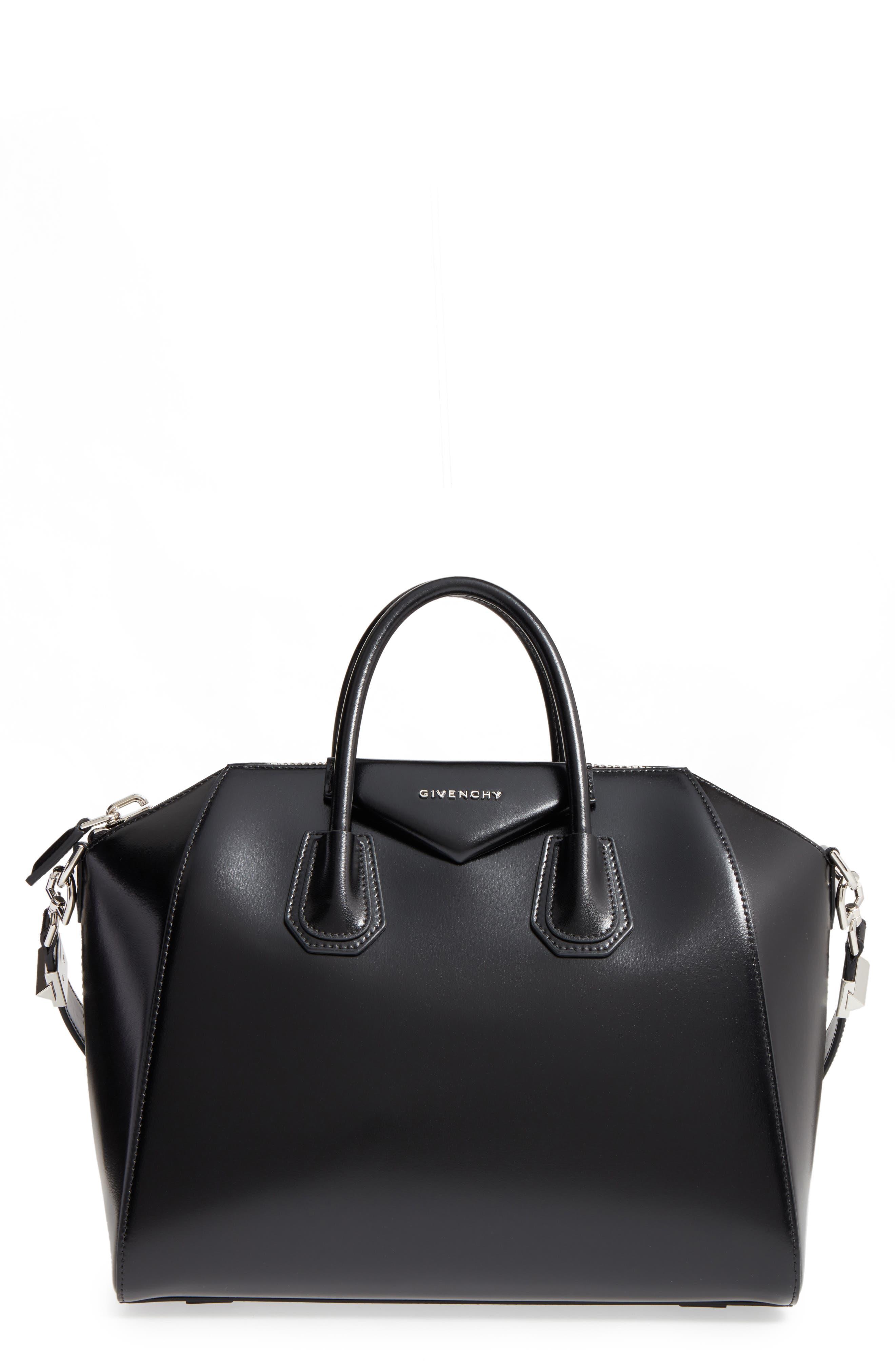 Medium Antigona Box Leather Satchel,                         Main,                         color, 001