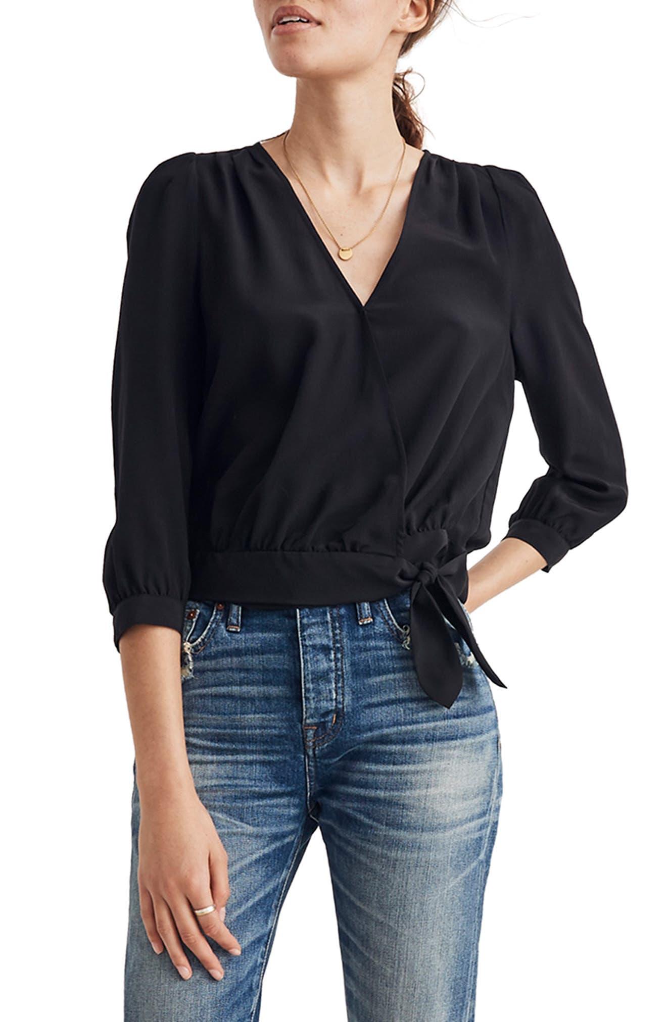 Silk Wrap Top,                         Main,                         color, TRUE BLACK