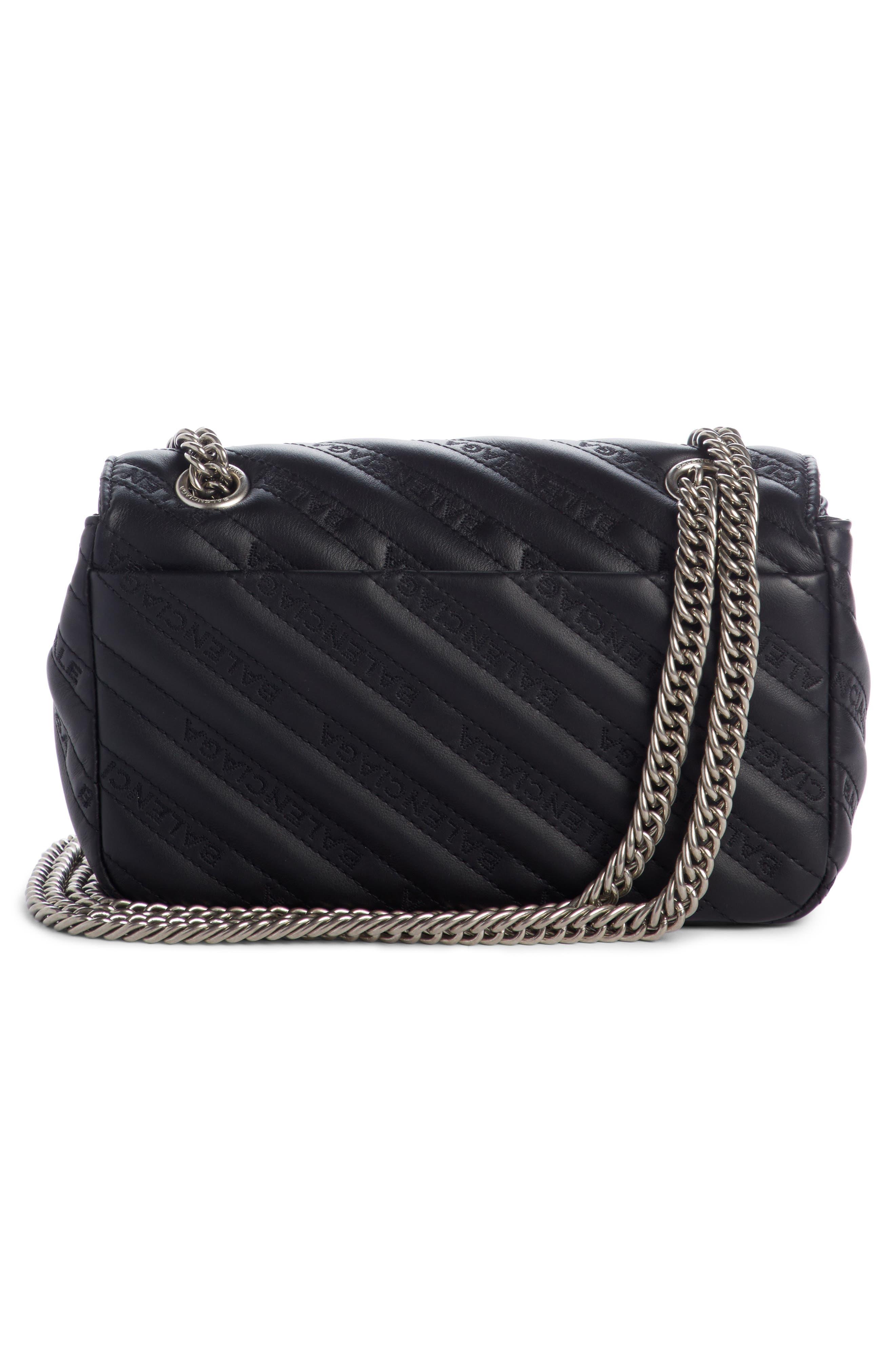 Small Matelassé Leather Shoulder Bag,                             Alternate thumbnail 2, color,                             NOIR