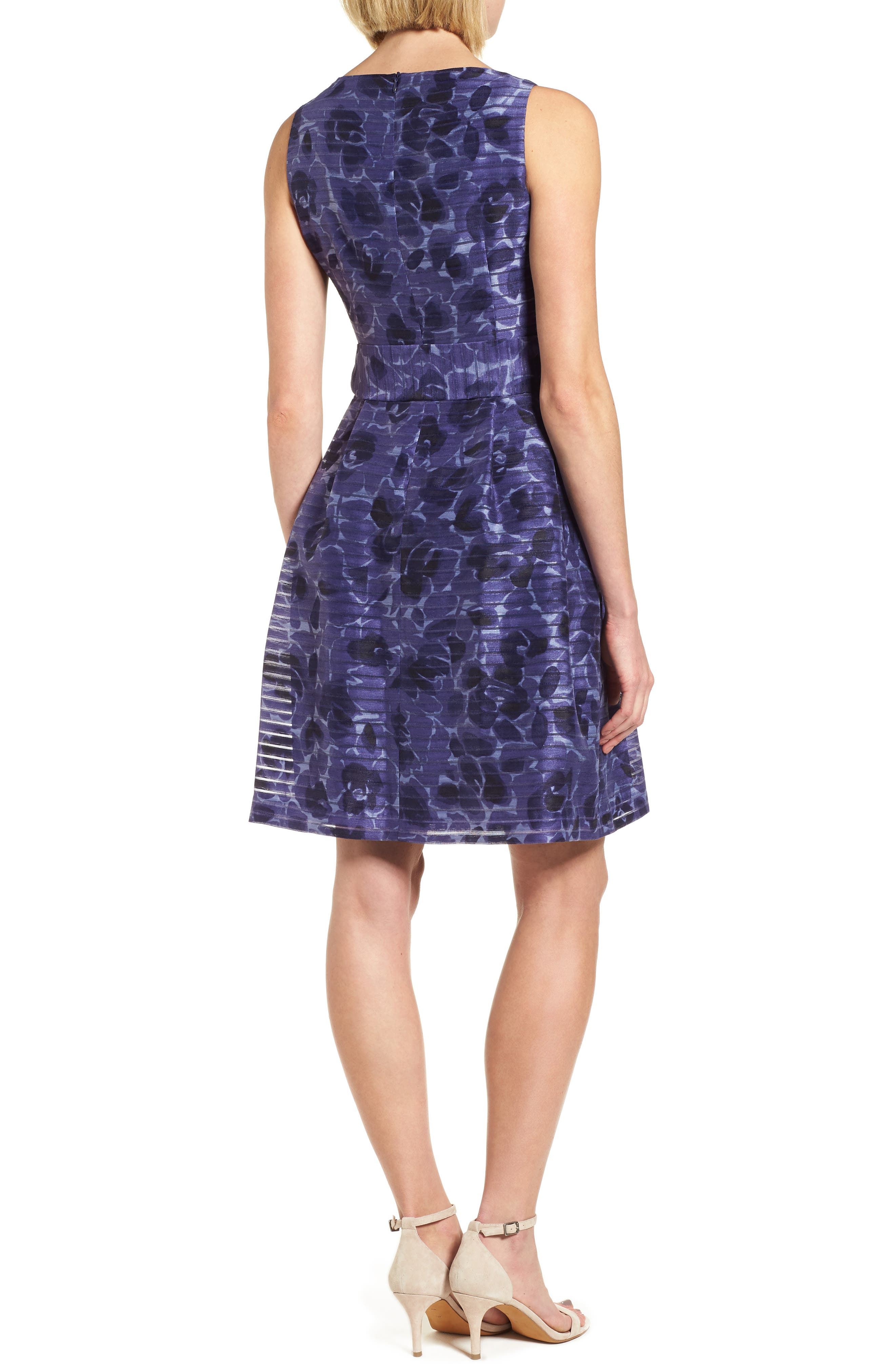 Rosewater Shadow Fit & Flare Dress,                             Alternate thumbnail 3, color,