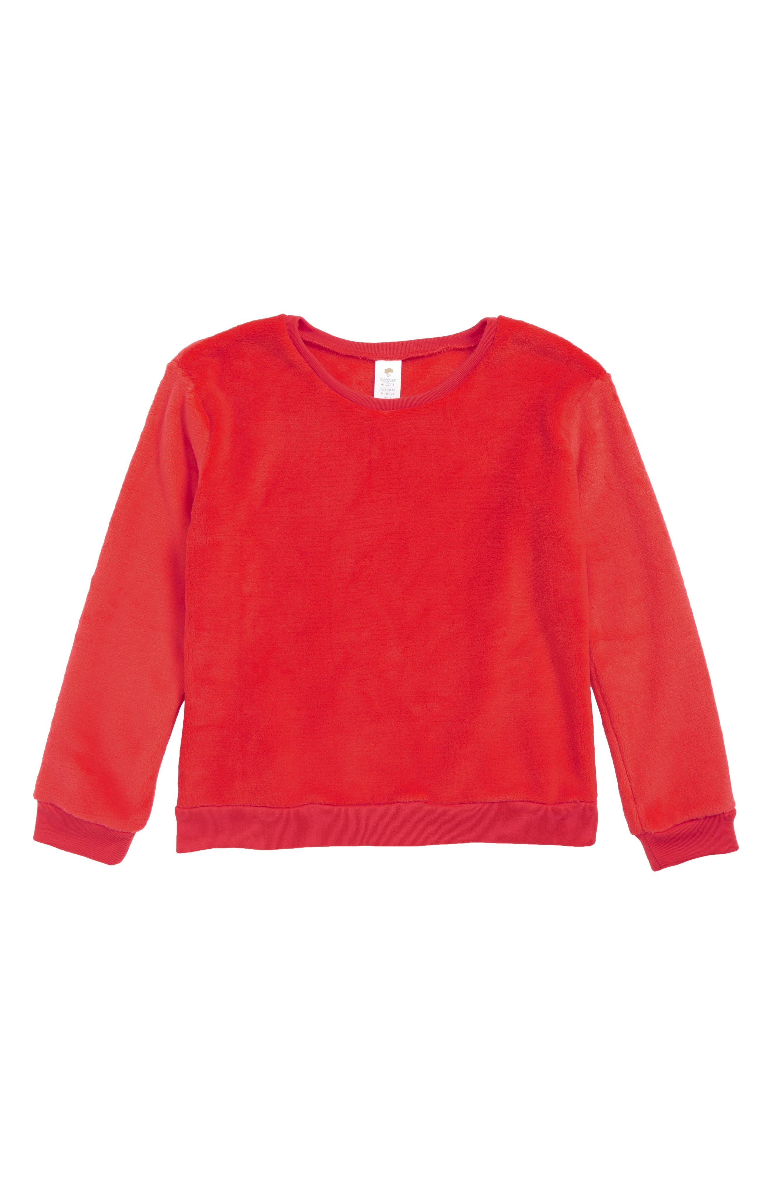 TUCKER + TATE,                             Fleece Sleep Tee,                             Main thumbnail 1, color,                             RED BLOOM