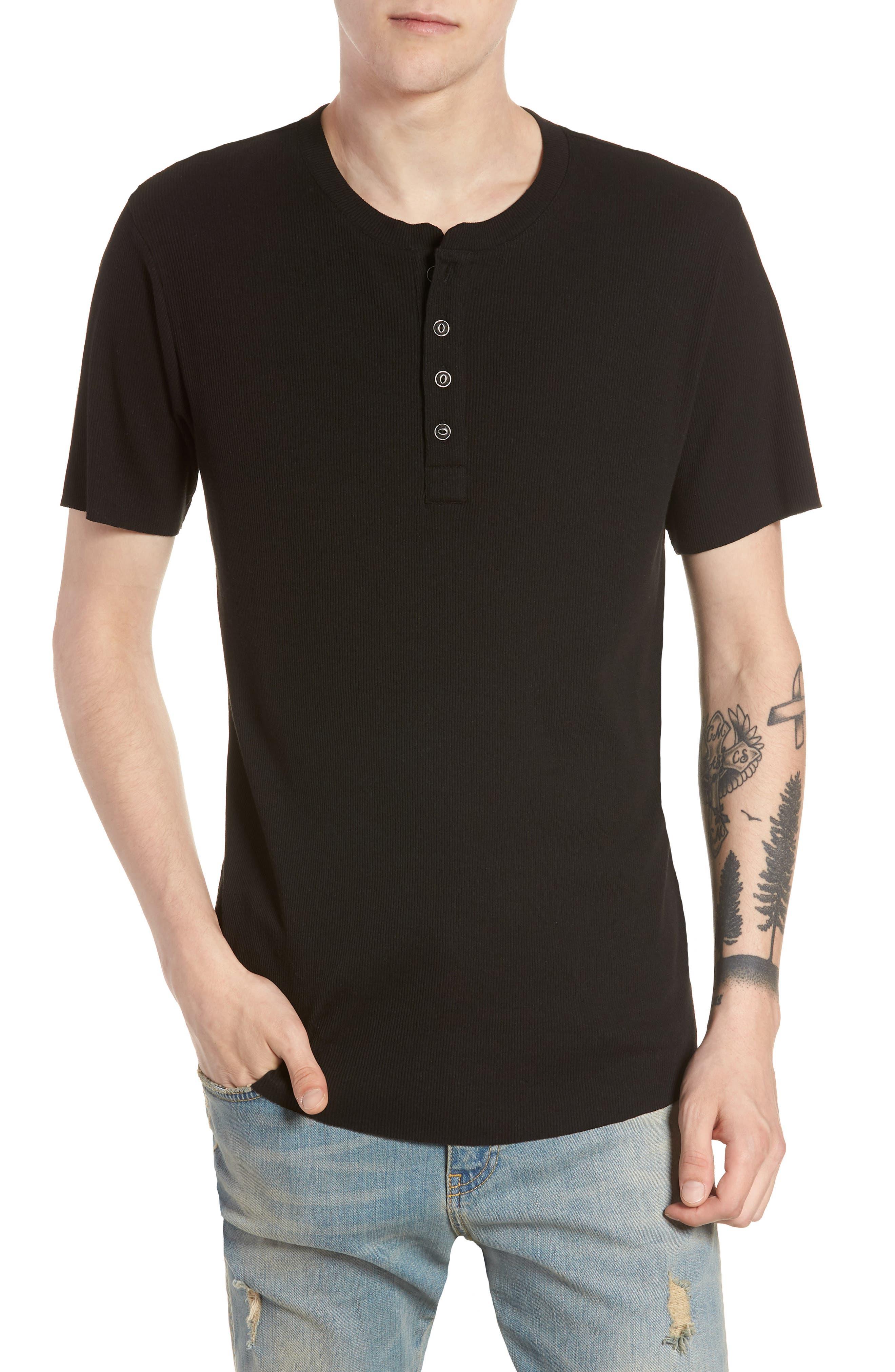 Ribbed Henley T-Shirt,                         Main,                         color,