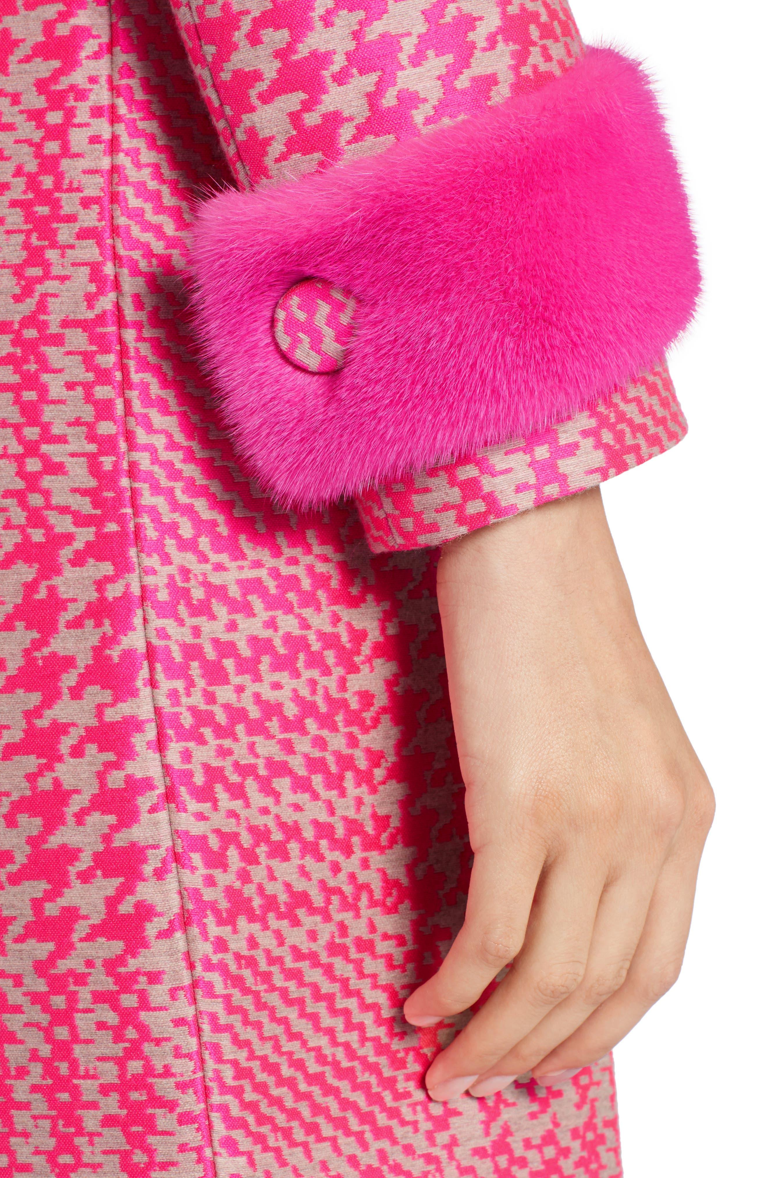Pop Genuine Mink Fur Trim Prince of Wales Check Coat,                             Alternate thumbnail 4, color,                             650