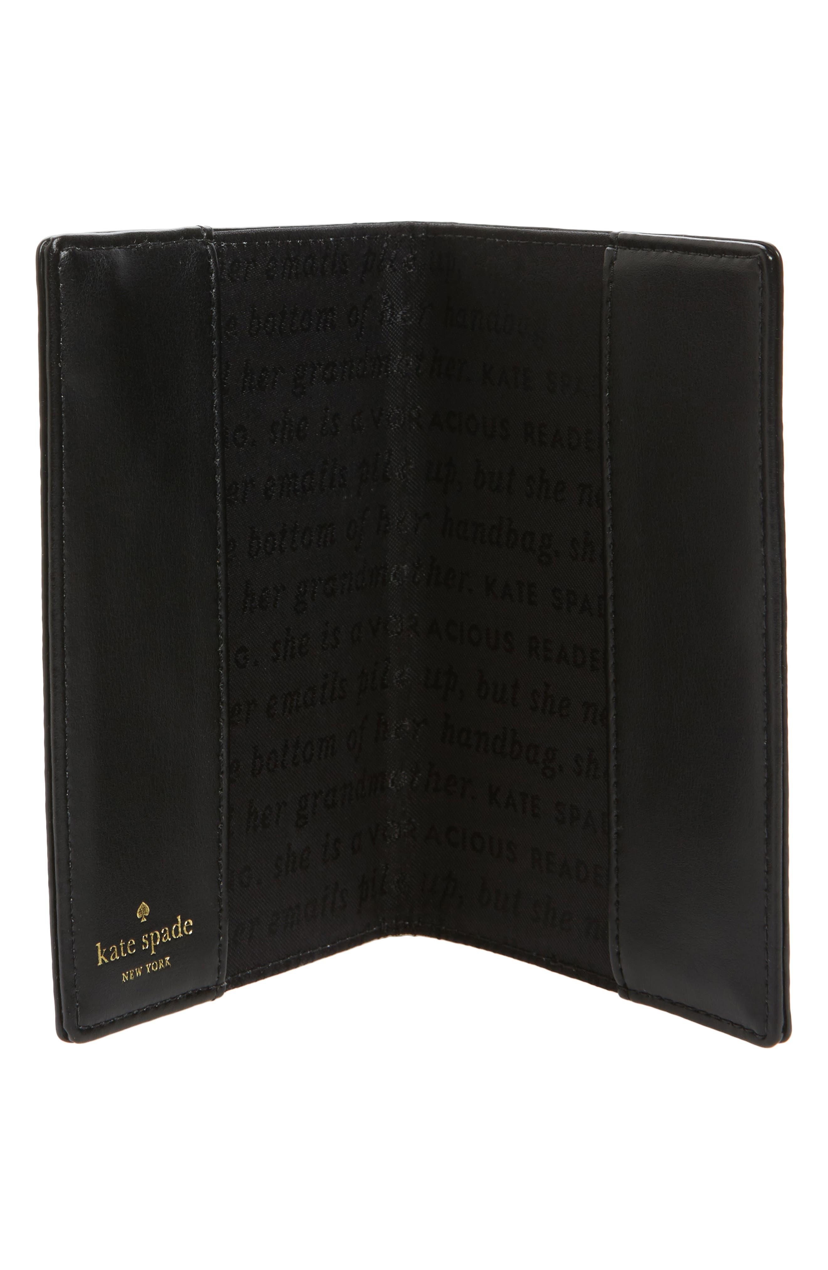 hyde lane - poppy leather passport holder,                             Alternate thumbnail 2, color,                             001