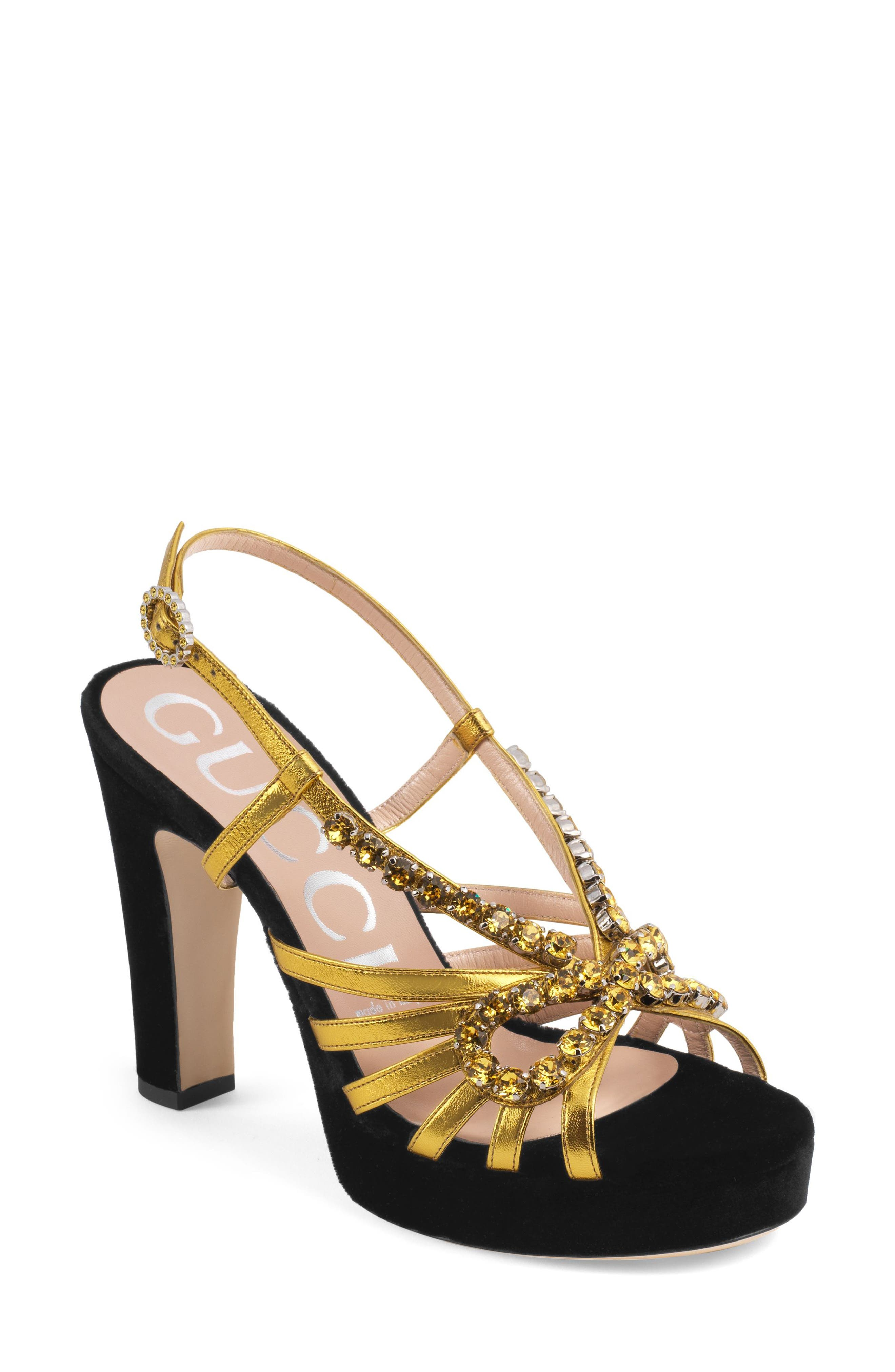 Zephyra Jewel Sandal,                             Main thumbnail 1, color,                             BLACK/ GOLD