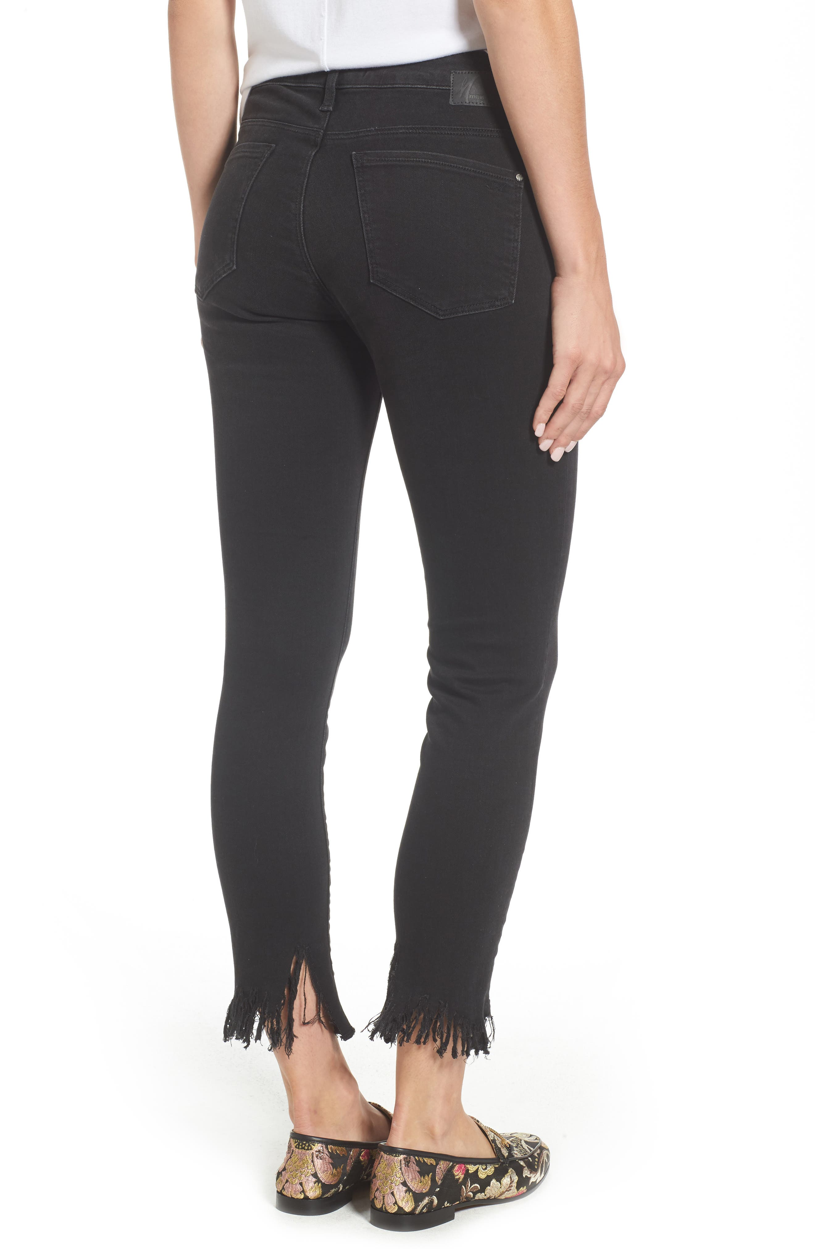 Tess Fringe Skinny Crop Jeans,                             Alternate thumbnail 2, color,                             SMOKE FRINGE