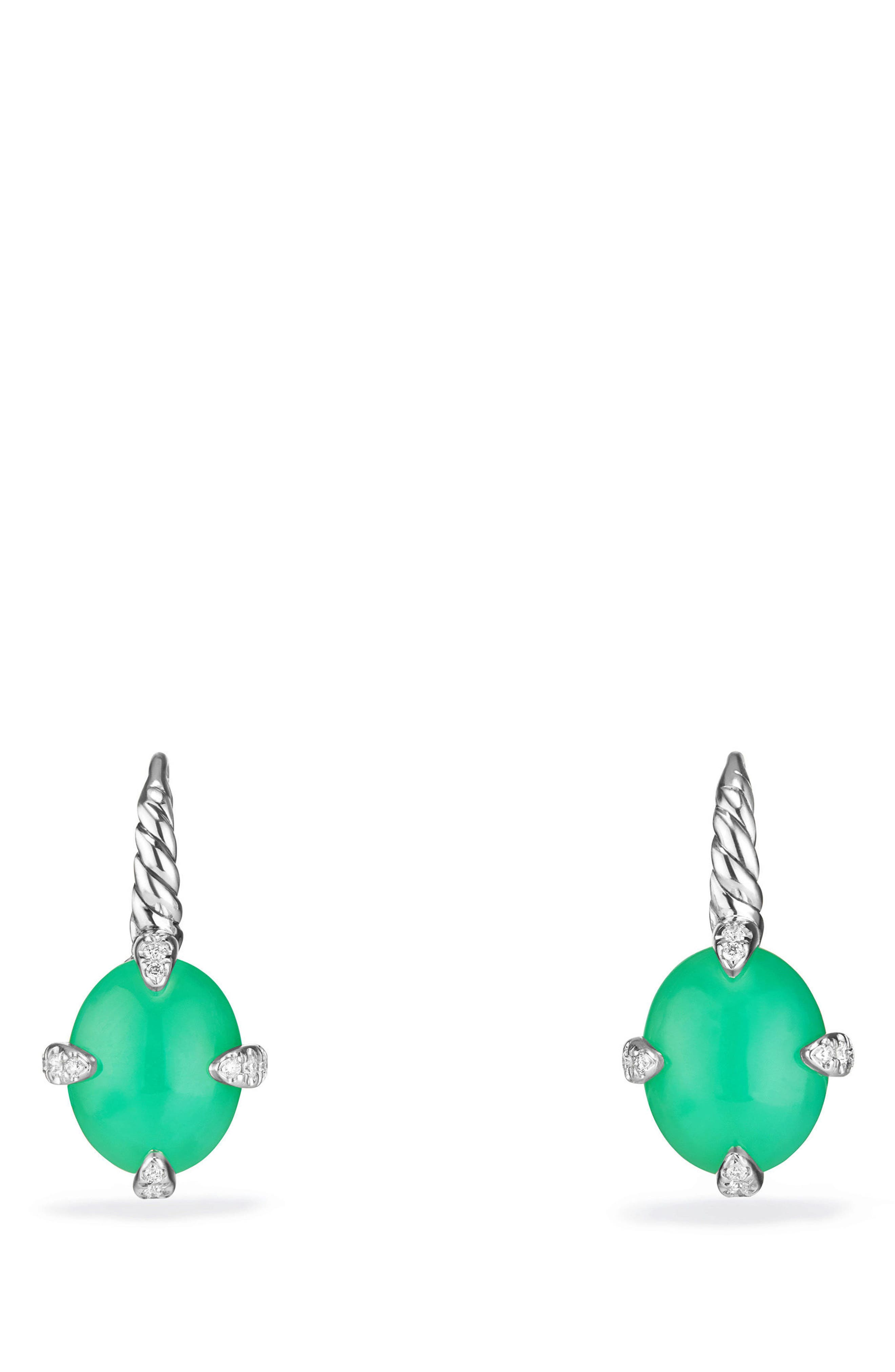 Chatelaine<sup>®</sup> Gemstone and Diamond Drop Earrings,                             Main thumbnail 1, color,                             SILVER/ DIAMOND/ CHRYSOPRASE