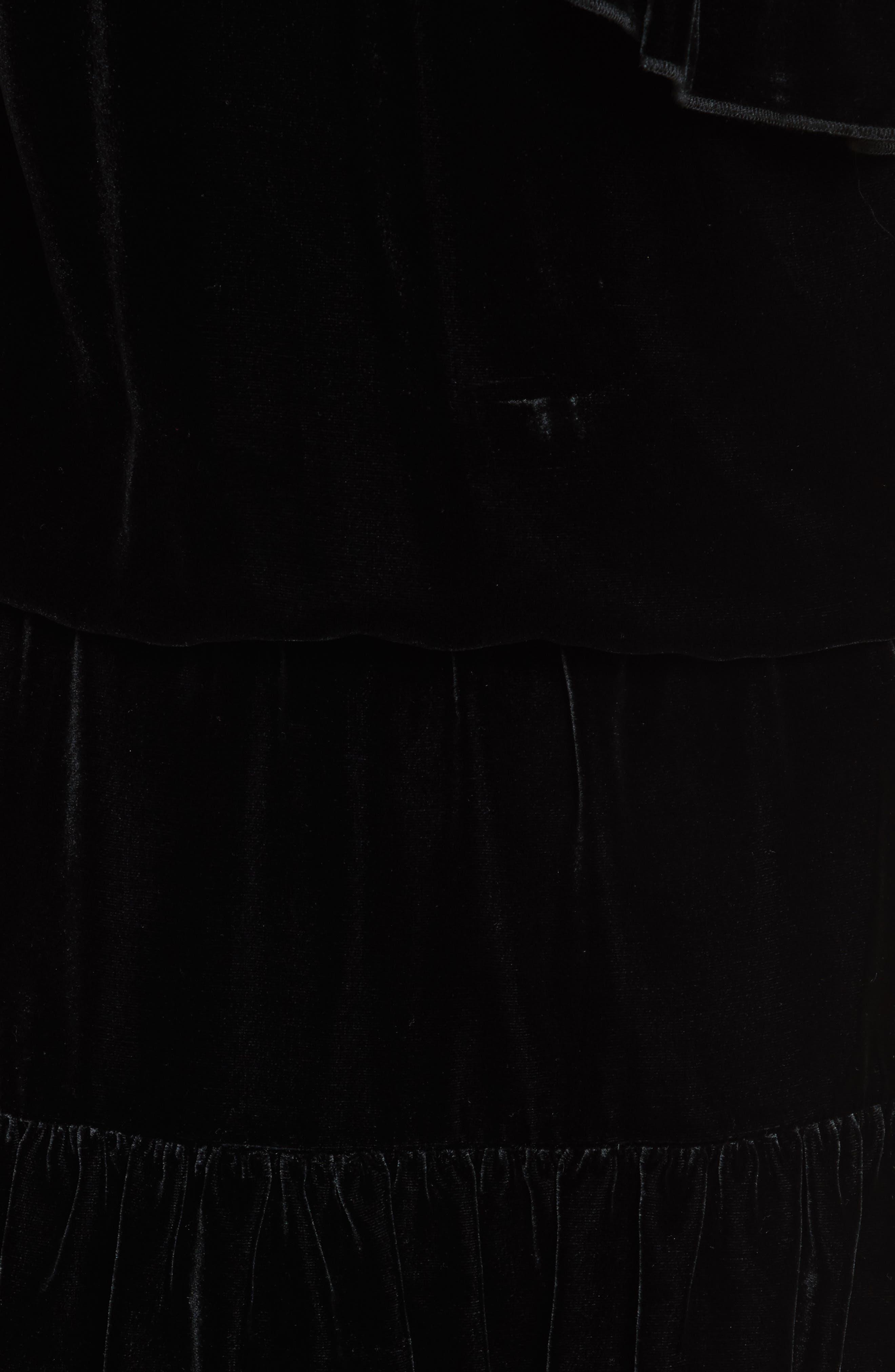 Kolda B One-Shoulder Velvet Dress,                             Alternate thumbnail 5, color,                             002