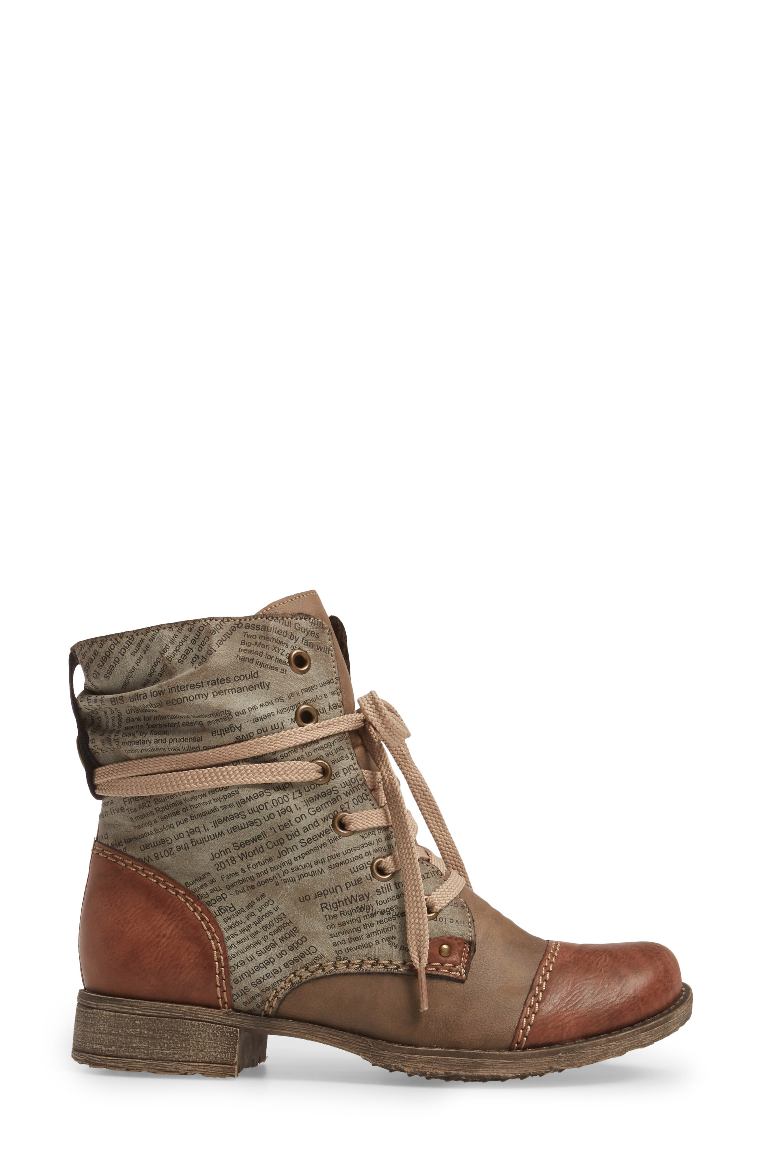 Payton 22 Lace-Up Boot,                             Alternate thumbnail 3, color,                             BRANDY/ CIGAR FAUX LEATHER