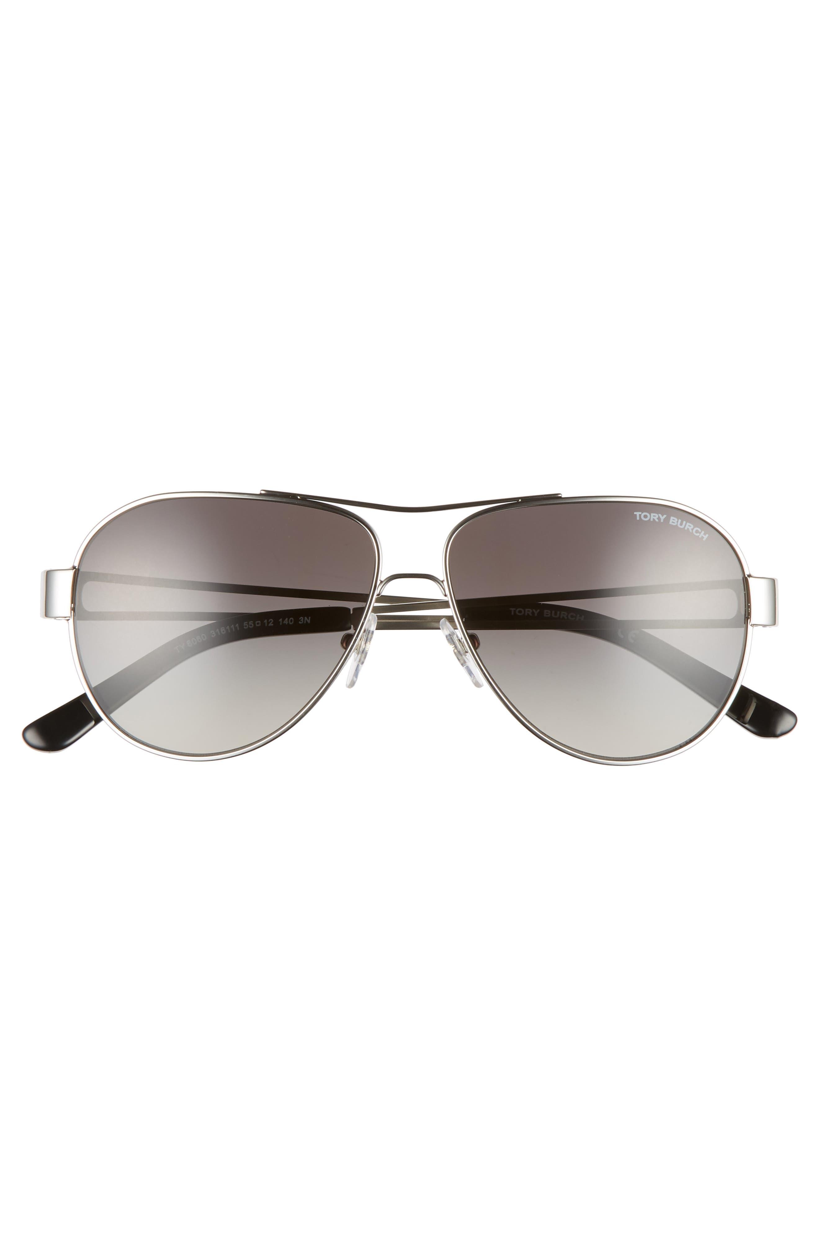 TORY BURCH,                             55mm Polarized Aviator Sunglasses,                             Alternate thumbnail 3, color,                             SILVER/ BLACK GRADIENT