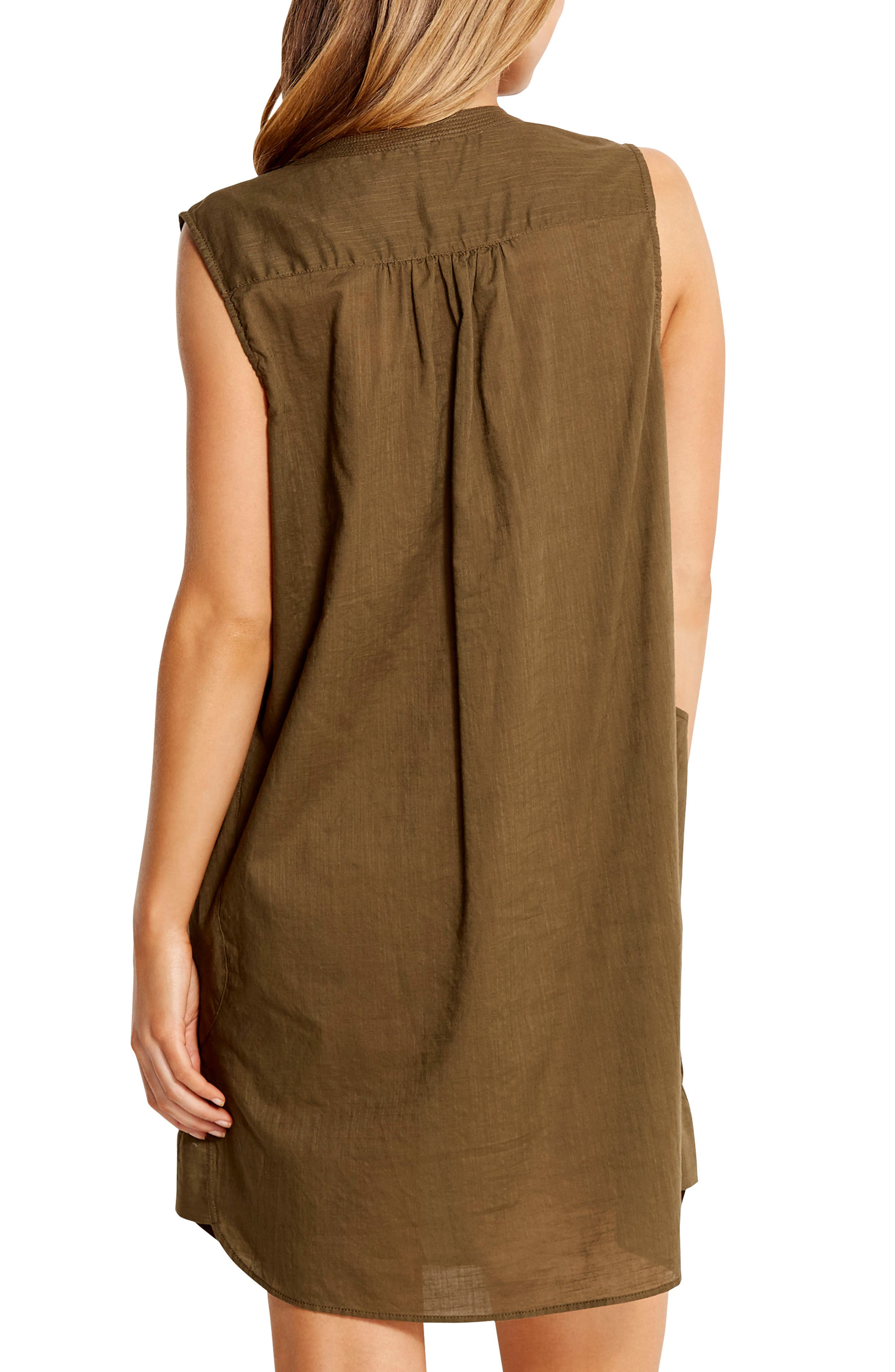 SEAFOLLY,                             Palm Beach Cover-Up Dress,                             Alternate thumbnail 2, color,                             DARK OLIVE