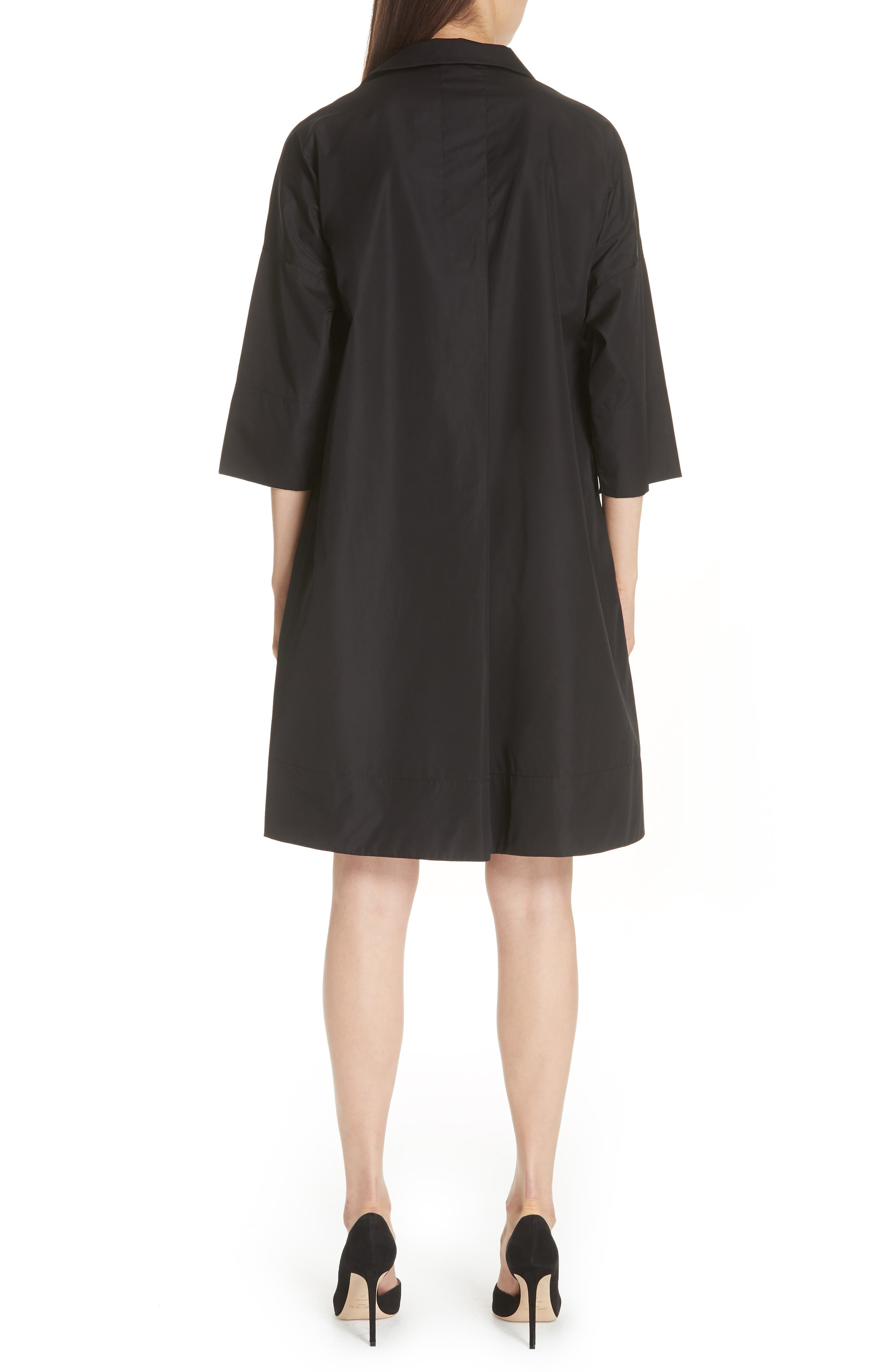 Eyelet Detail Cotton Dress,                             Alternate thumbnail 2, color,                             BLACK