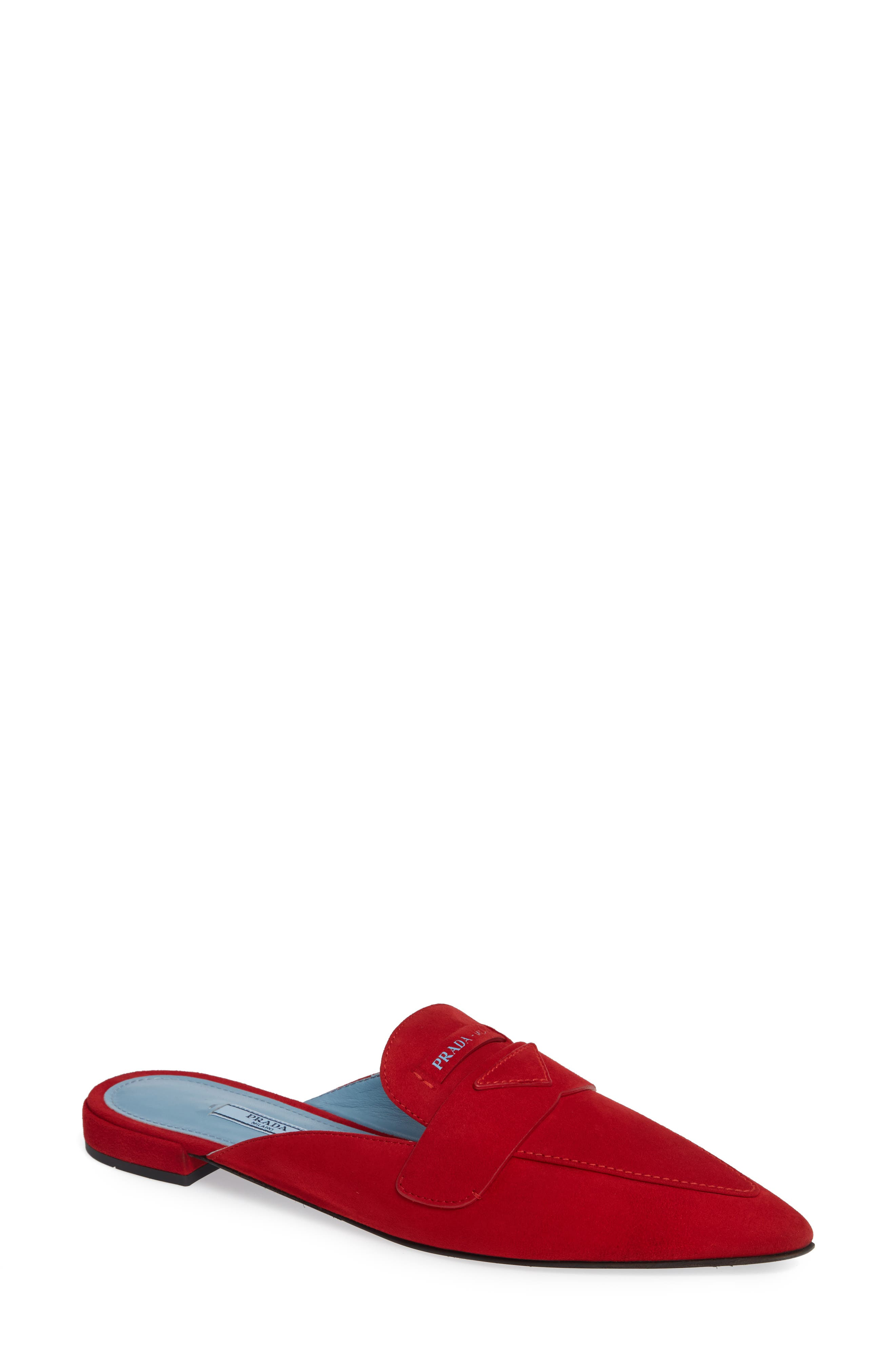 Logo Pointy Toe Loafer Mule,                             Main thumbnail 1, color,                             RED