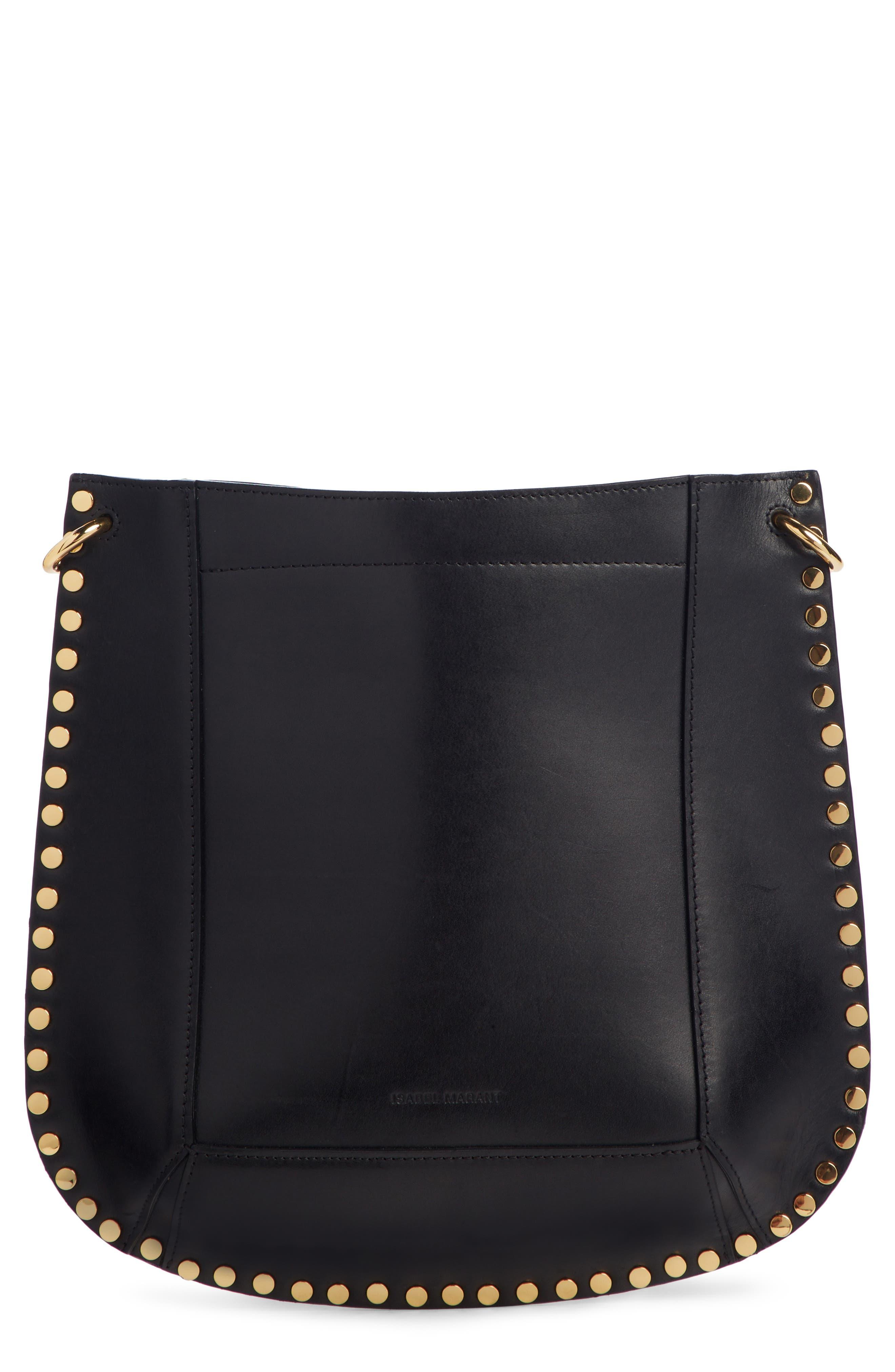 ISABEL MARANT Oskan New Leather Hobo, Main, color, BLACK