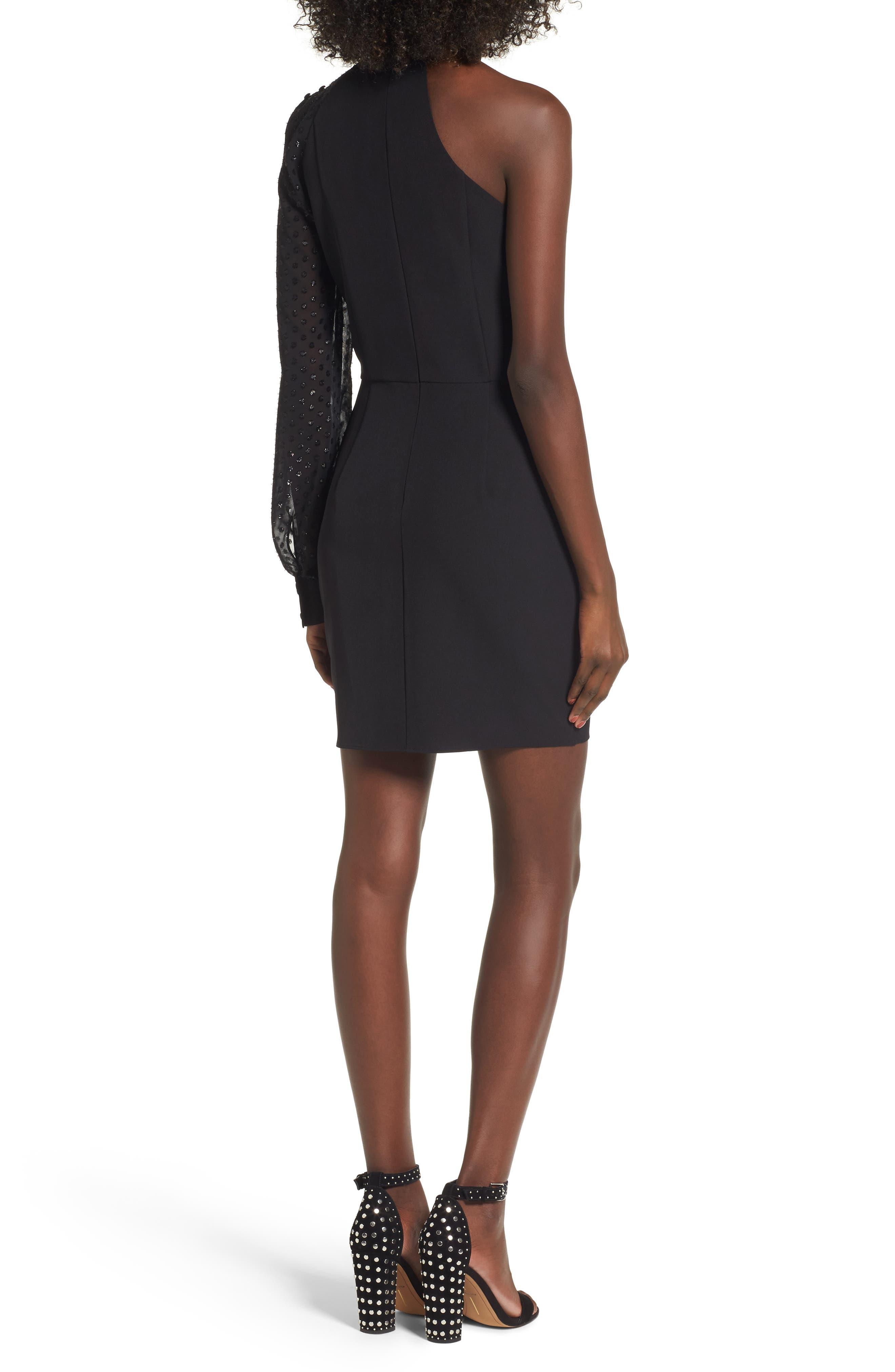 Layne One-Shoulder Dress,                             Alternate thumbnail 2, color,                             001