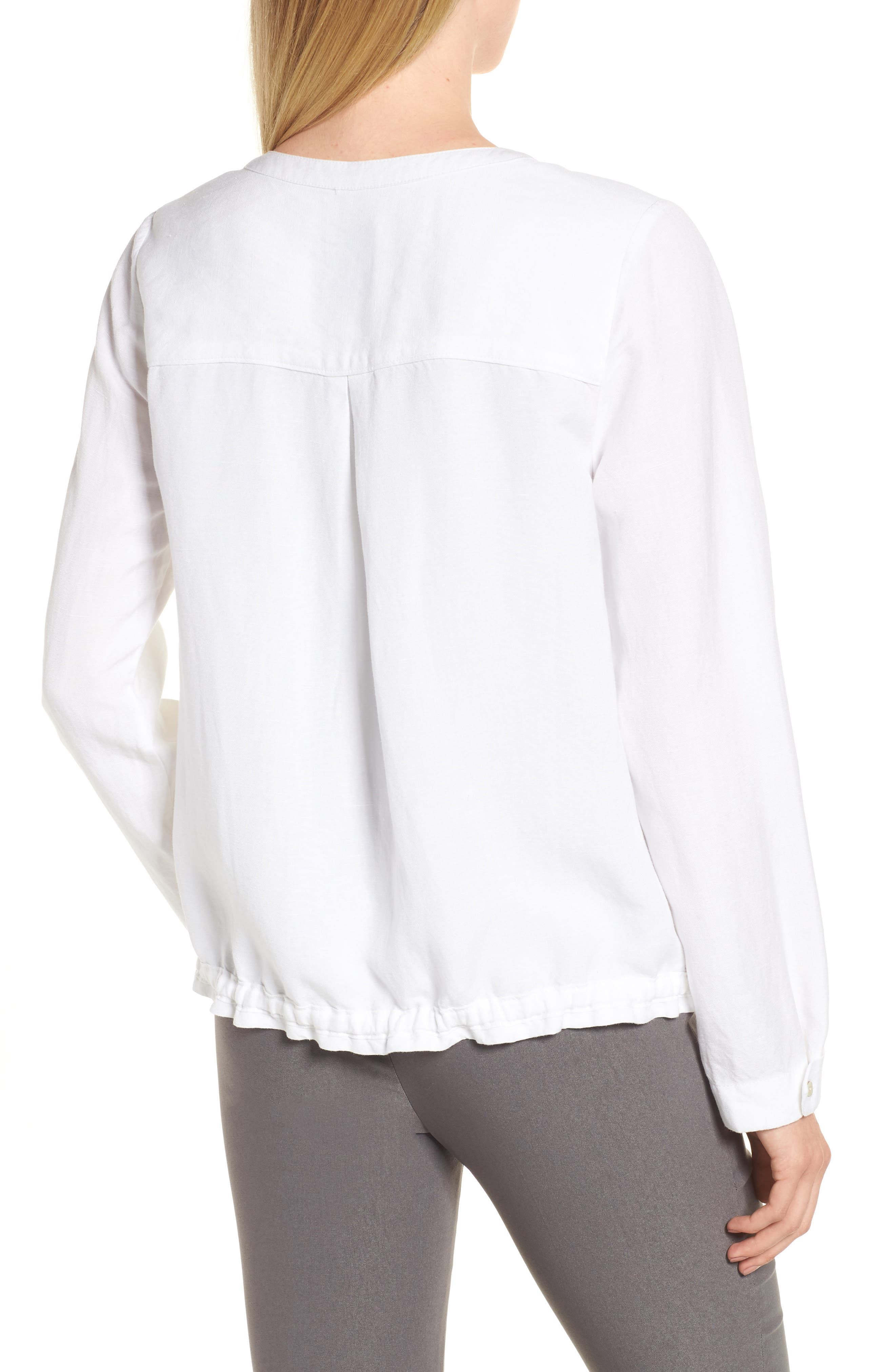 Homebound Linen Blend Drawstring Jacket,                             Alternate thumbnail 2, color,                             PAPER WHITE