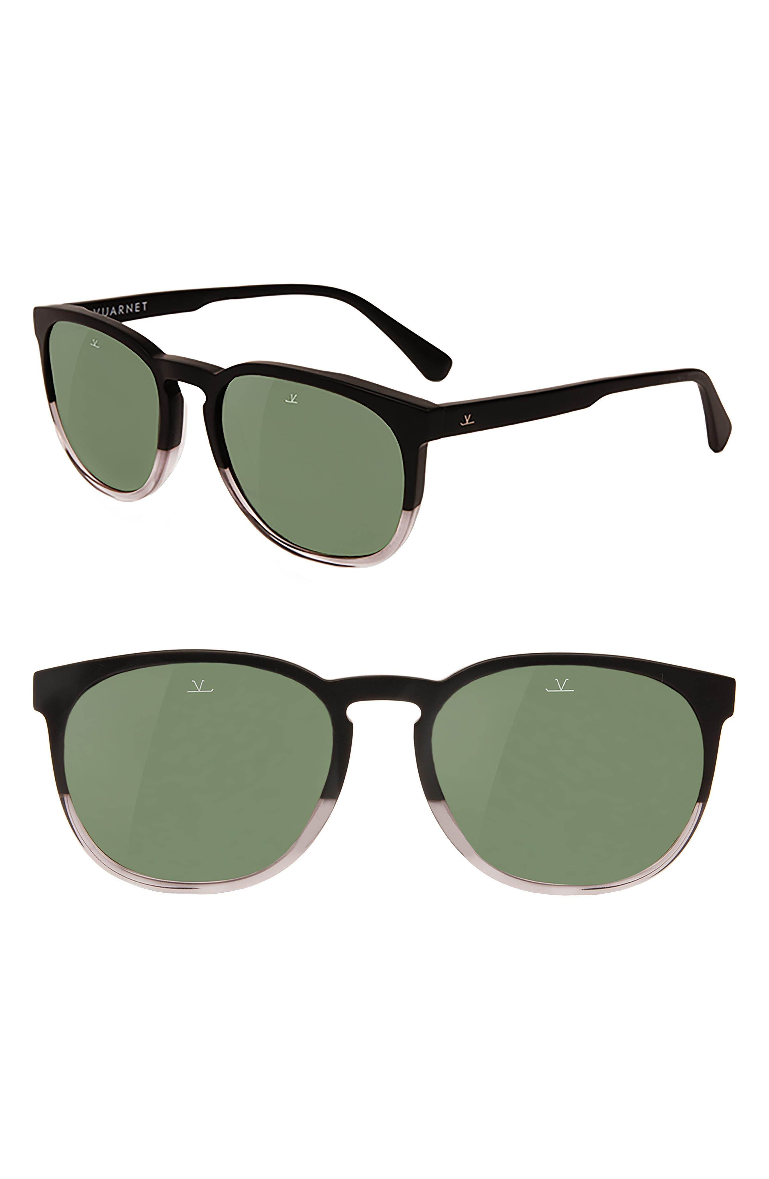 District 54mm Sunglasses,                             Main thumbnail 1, color,                             MATT BLACK / SHINY TRANSPARENT