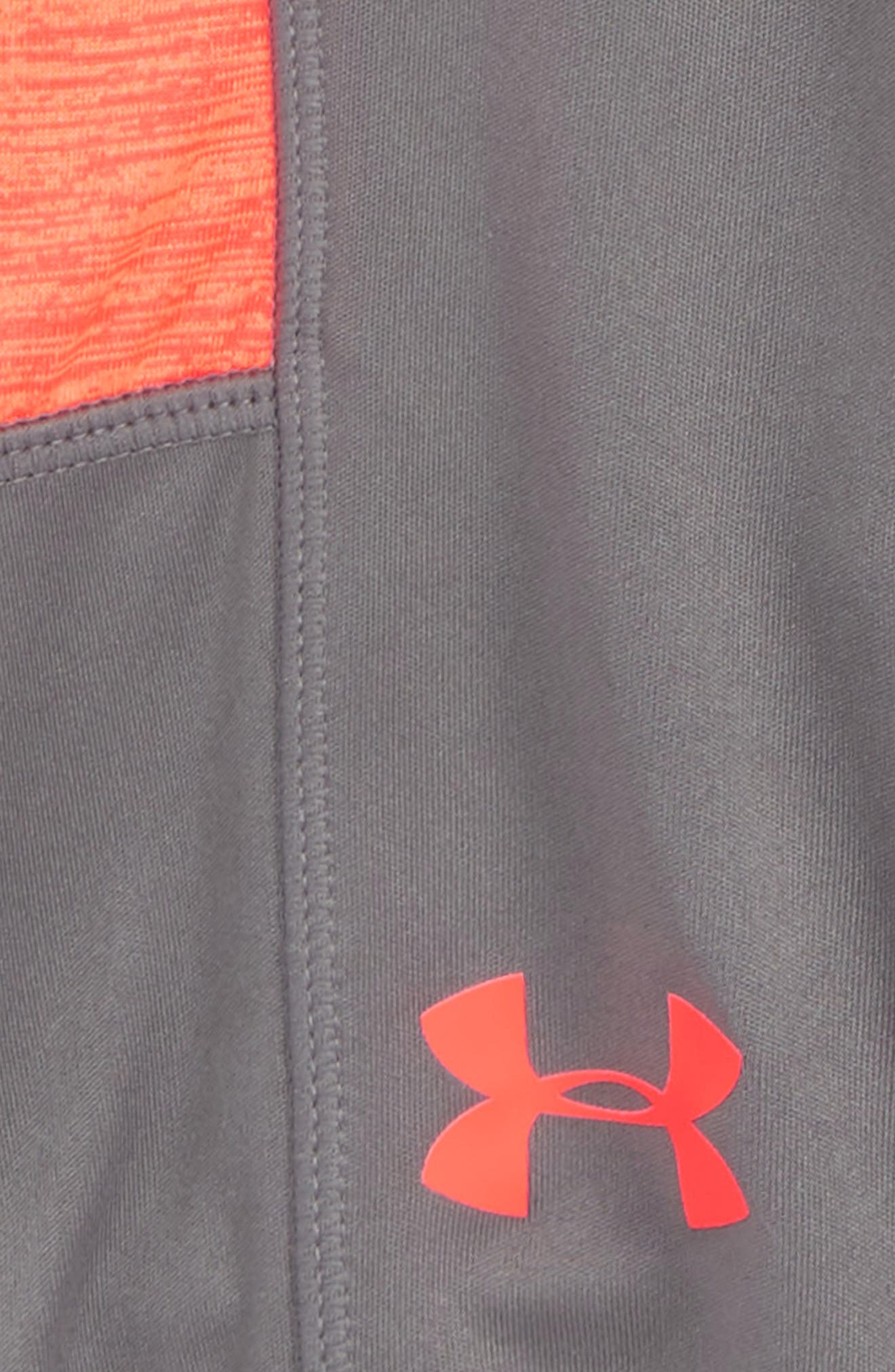 Twist Stunt HeatGear<sup>®</sup> Shorts,                             Alternate thumbnail 3, color,                             GRAPHITE/ NEON CORAL