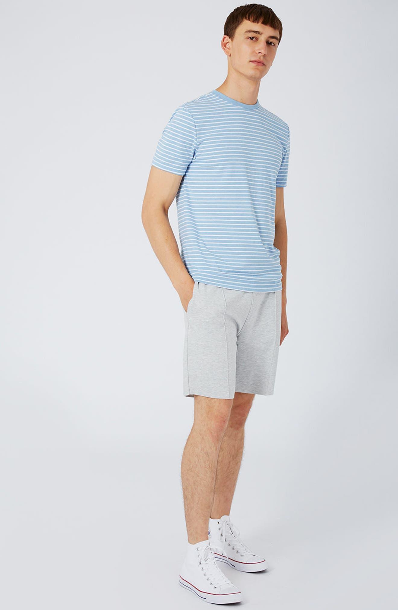 Crewneck Stripe T-Shirt,                             Alternate thumbnail 5, color,                             450