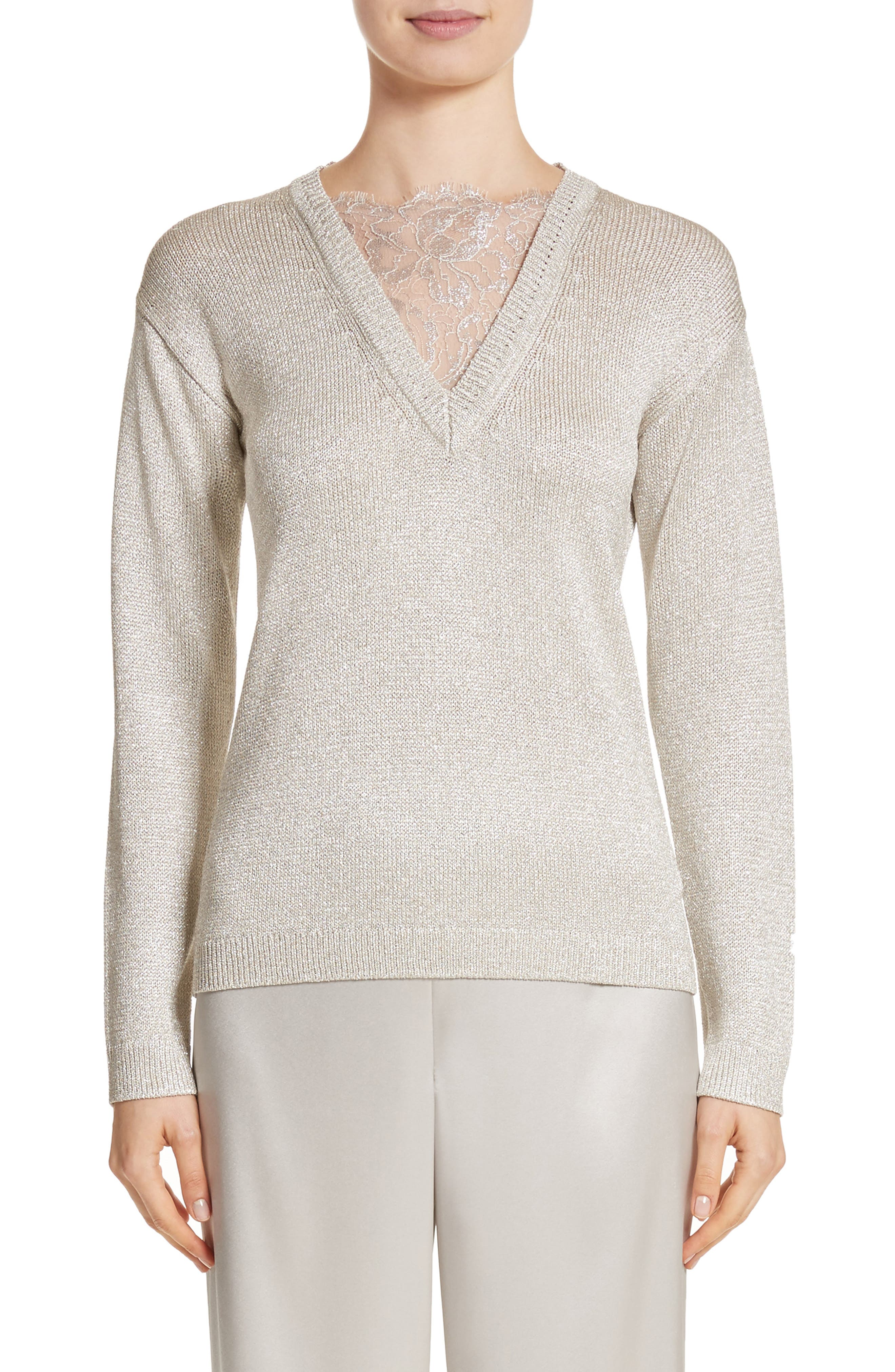St John Collection Metallic Jersey Knit Sweater,                         Main,                         color, 020