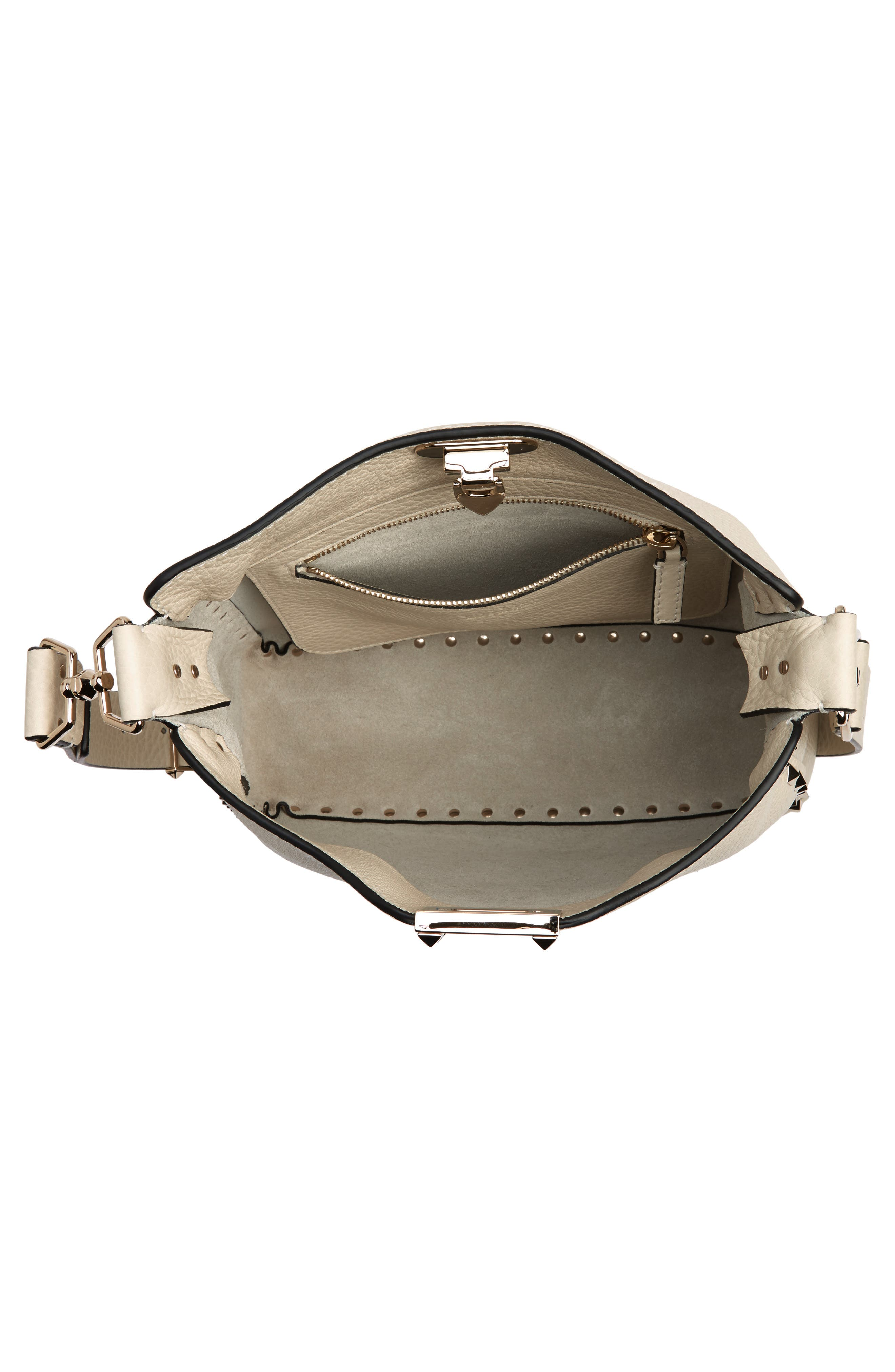 Small Rockstud Leather Hobo,                             Alternate thumbnail 4, color,                             LIGHT IVORY