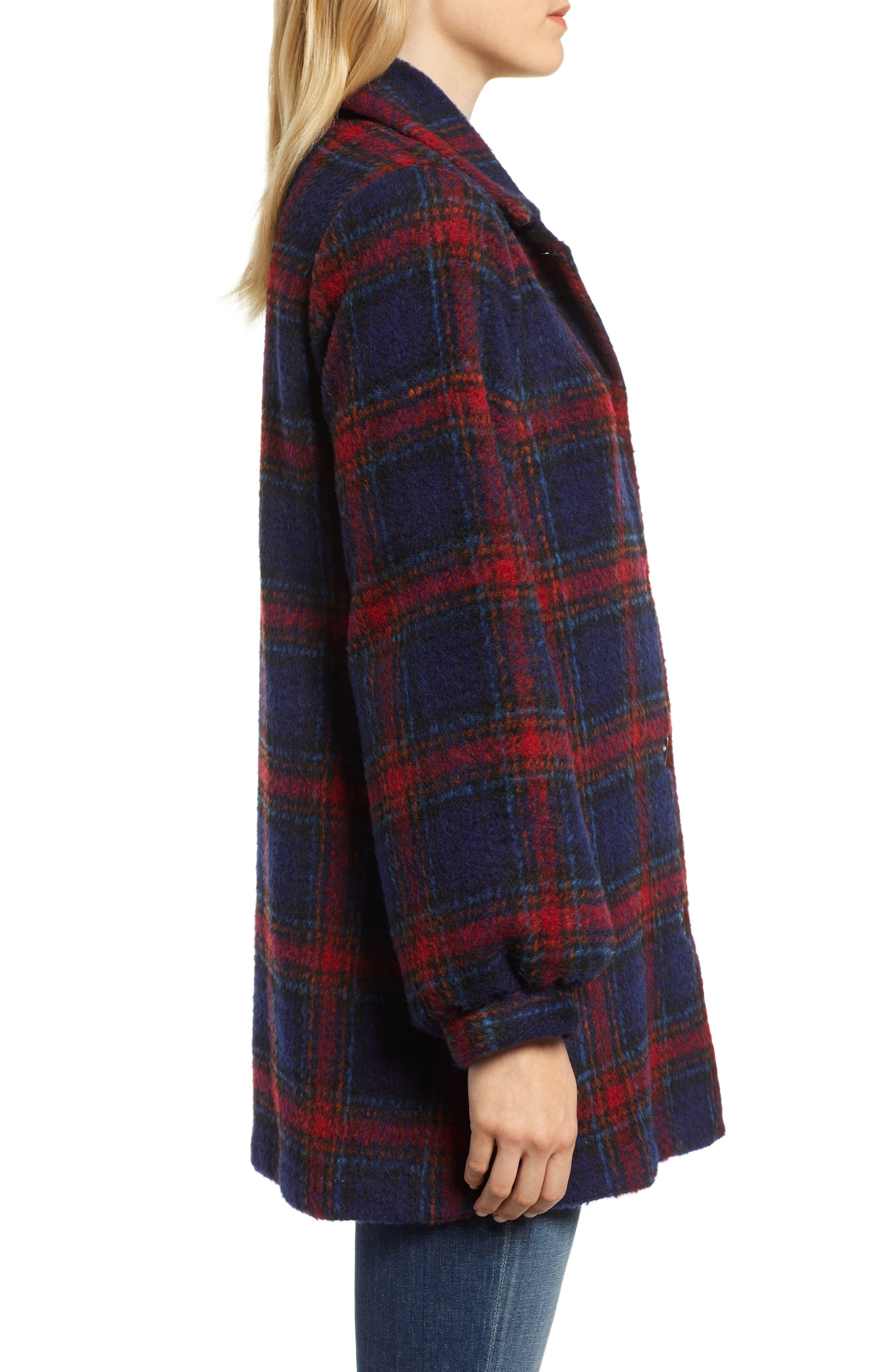 Plaid Wool Blend Jacket,                             Alternate thumbnail 3, color,                             MULTI