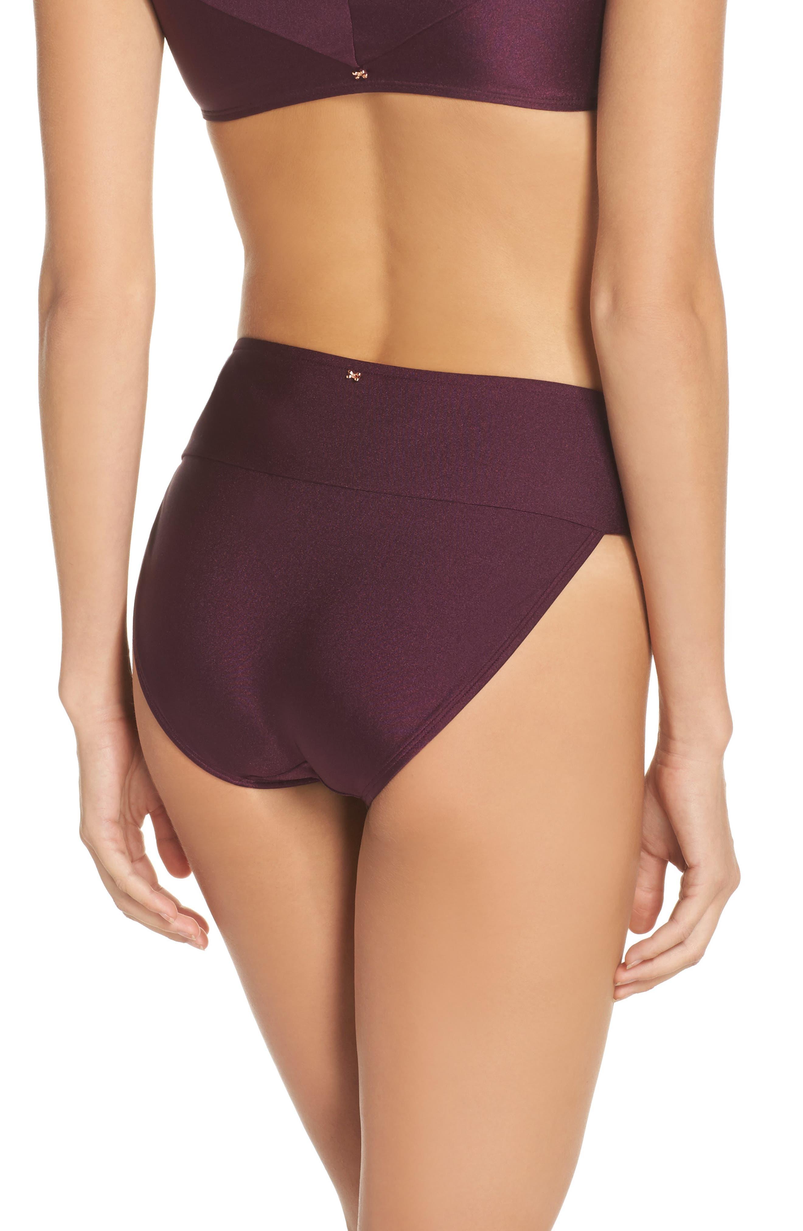 Ted Baker High Waisted Wrap Bikini Bottom,                             Alternate thumbnail 2, color,                             DEEP PURPLE