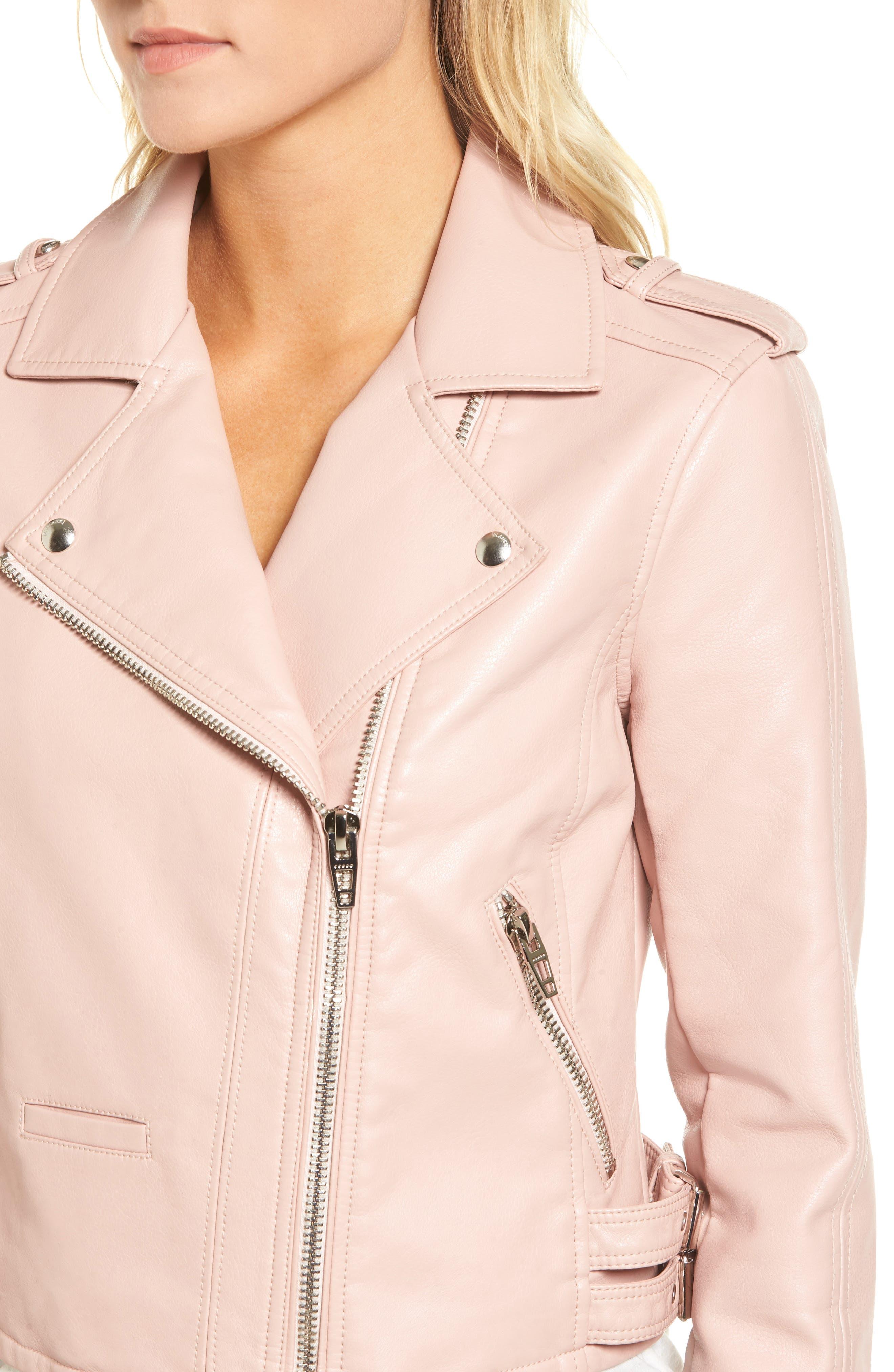 Faux Leather Moto Jacket,                             Alternate thumbnail 4, color,                             BLUSHING HARD