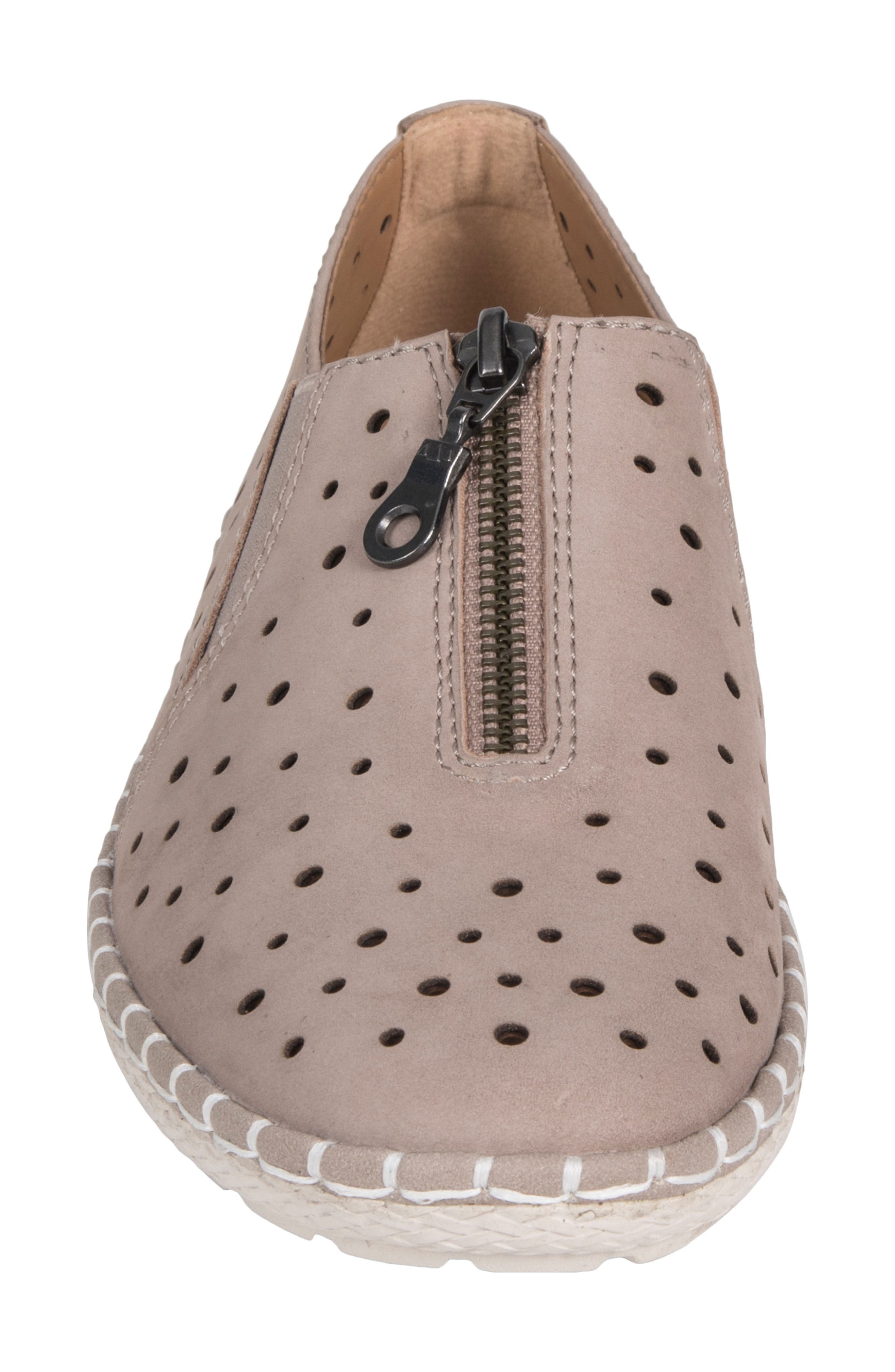 Callisto Perforated Zip Moccasin,                             Alternate thumbnail 4, color,                             TAUPE NUBUCK